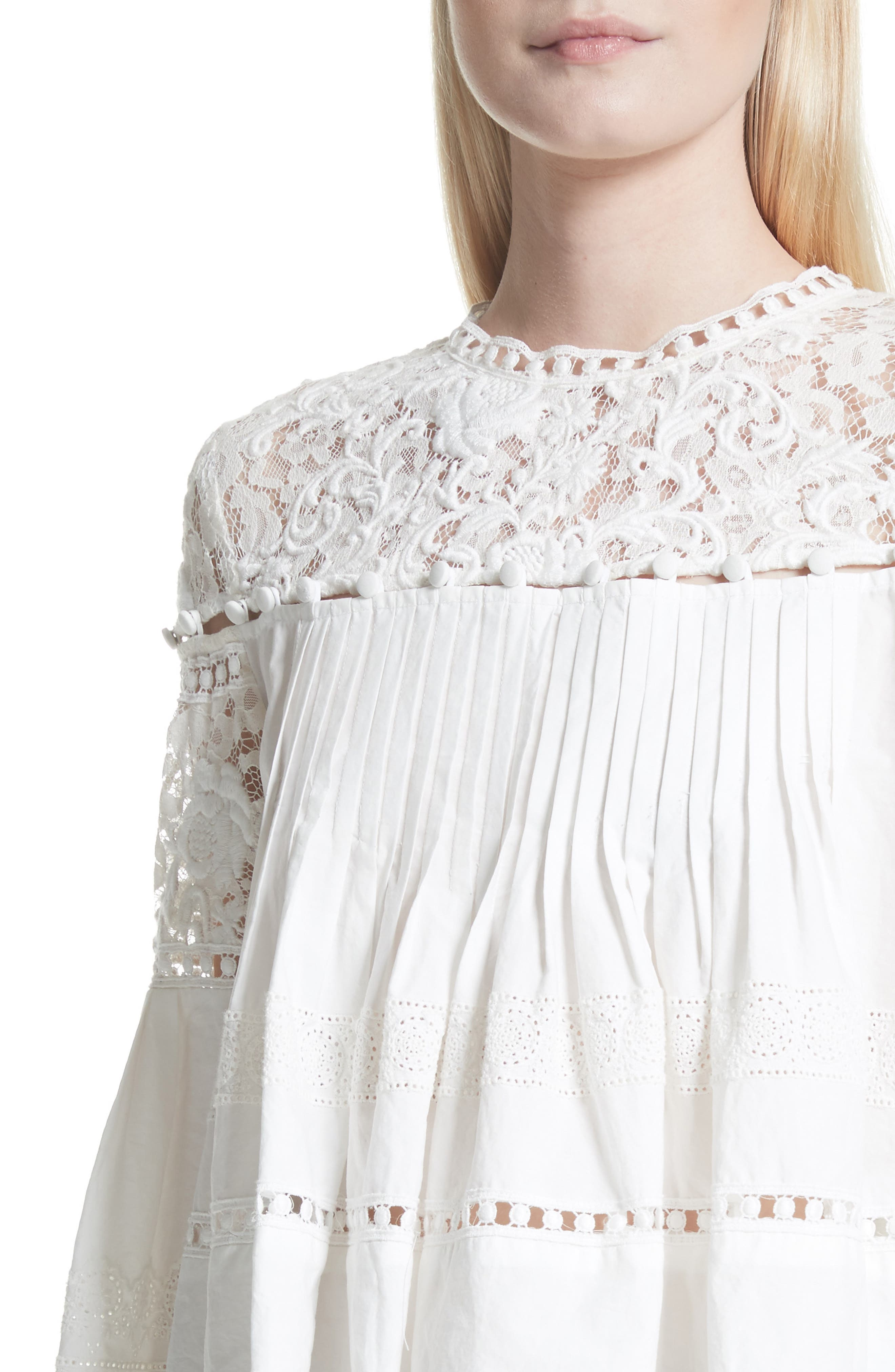 Cotton Eyelet Blouse,                             Alternate thumbnail 4, color,                             Cream