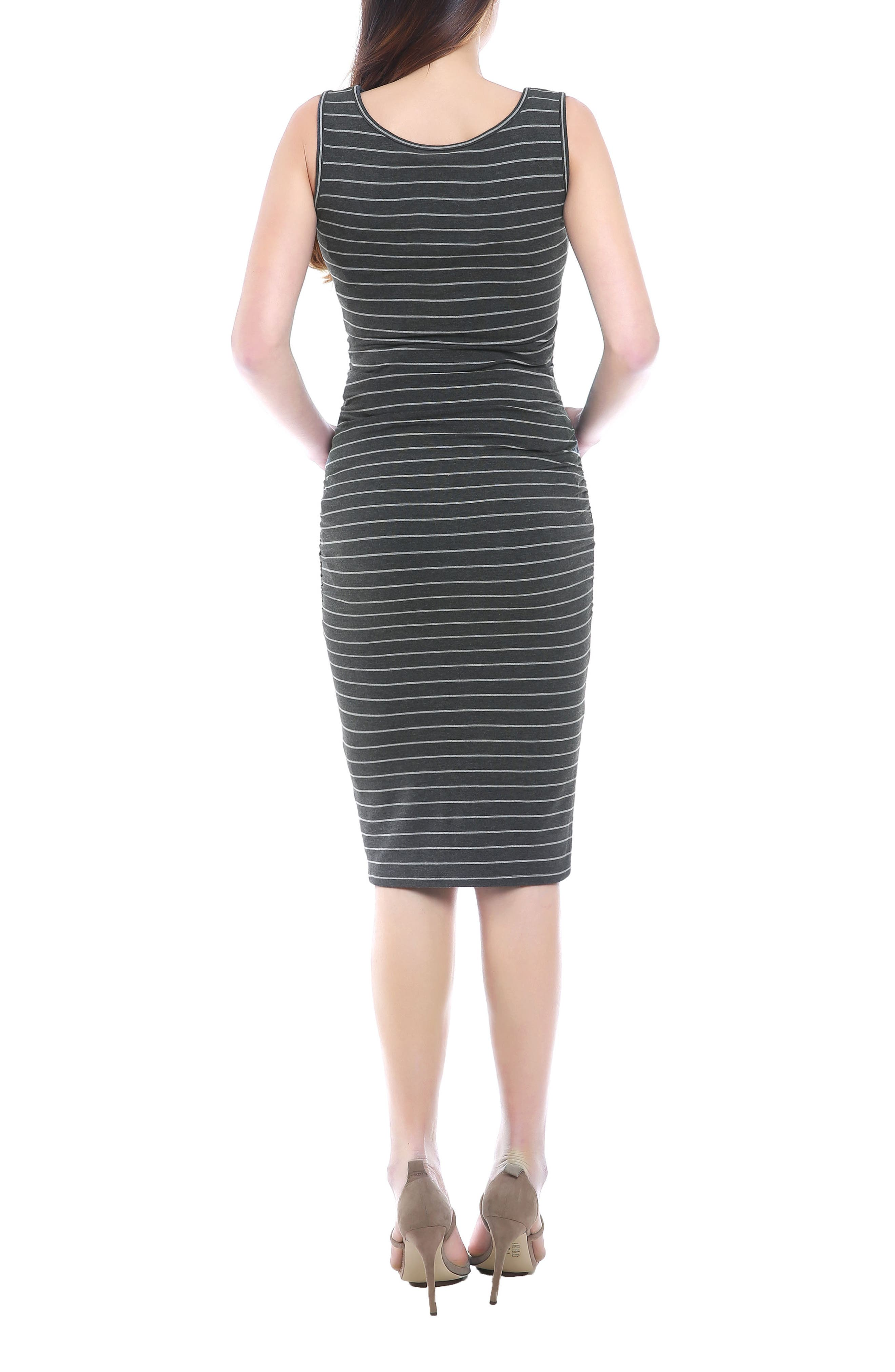 Tobi Stripe Maternity Dress,                             Alternate thumbnail 2, color,                             Dark Gray/ Light Gray