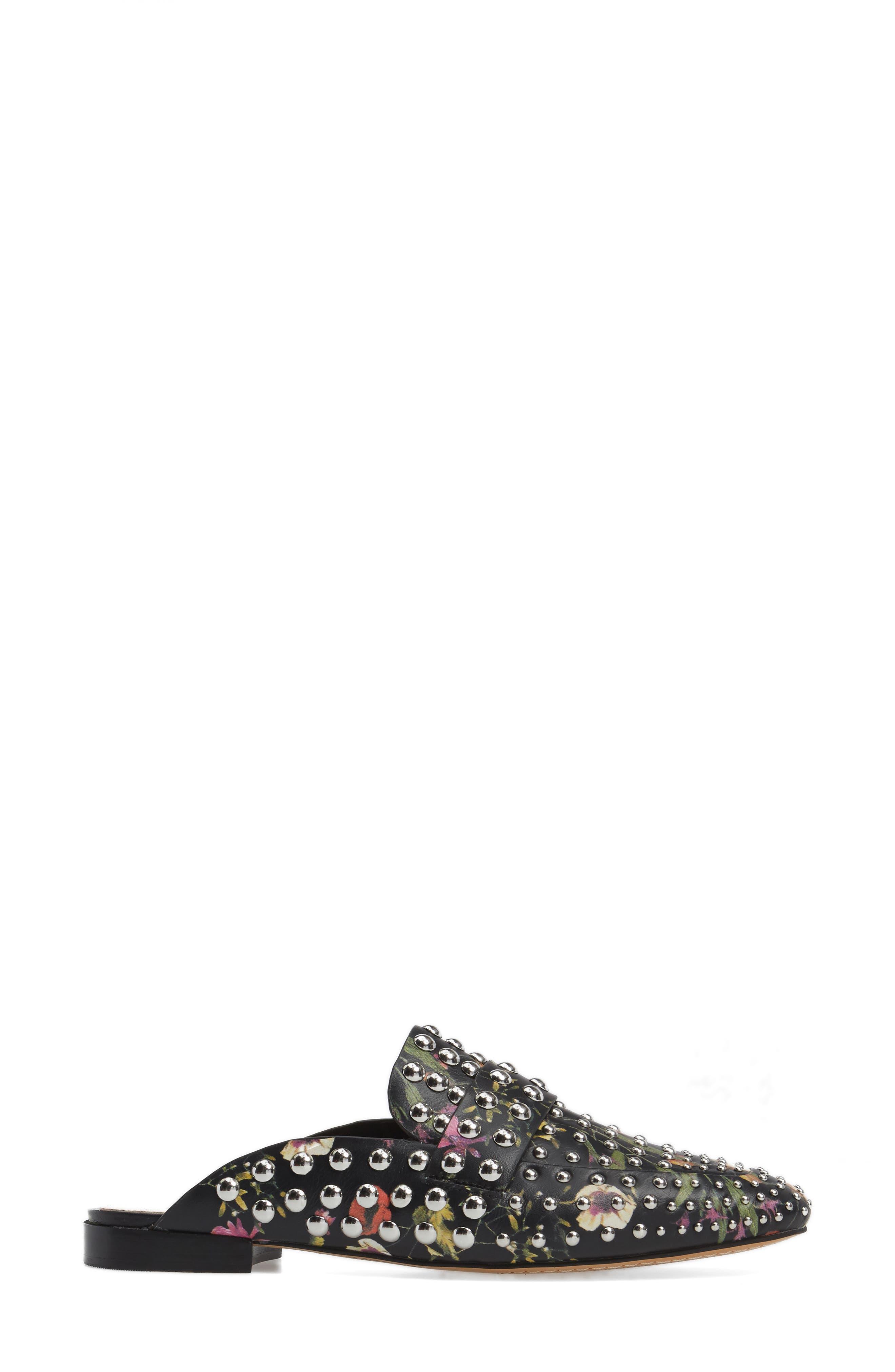 Sessa Studded Loafer Mule,                             Alternate thumbnail 4, color,                             Black Floral Leather