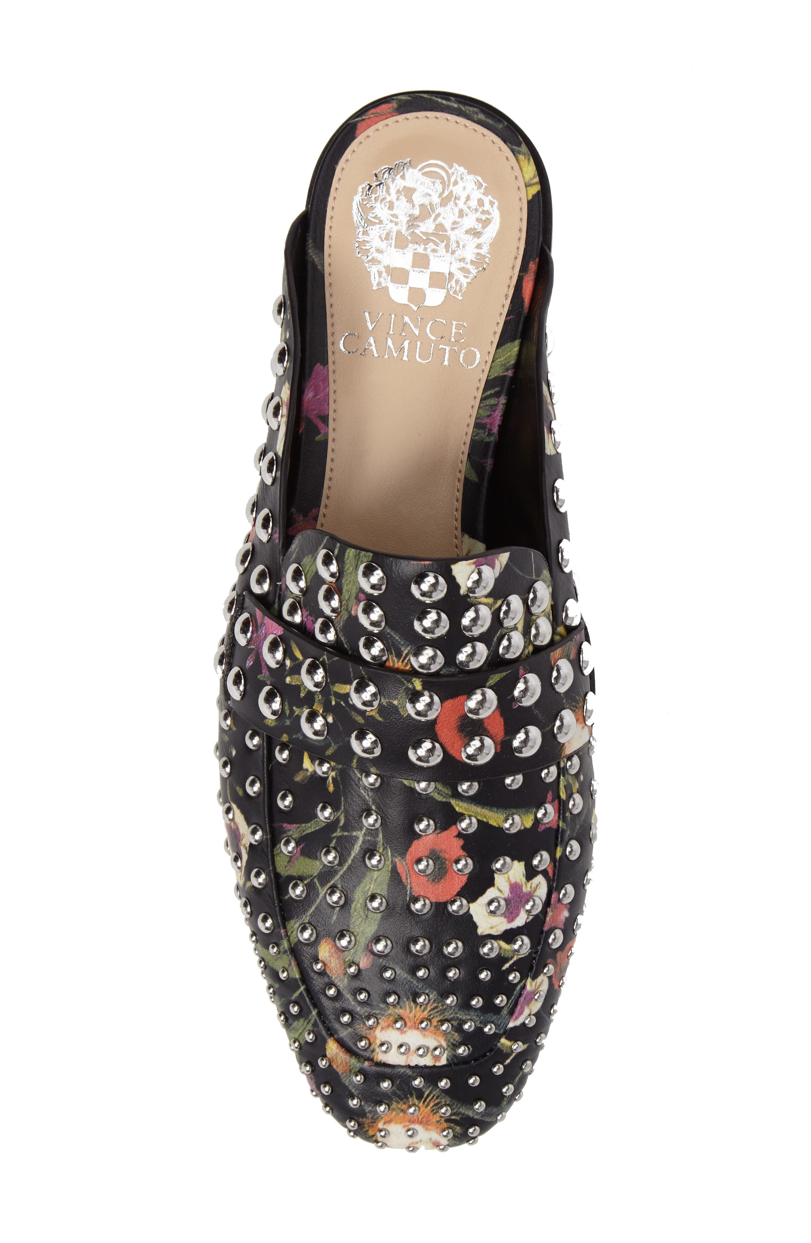 Sessa Studded Loafer Mule,                             Alternate thumbnail 6, color,                             Black Floral Leather