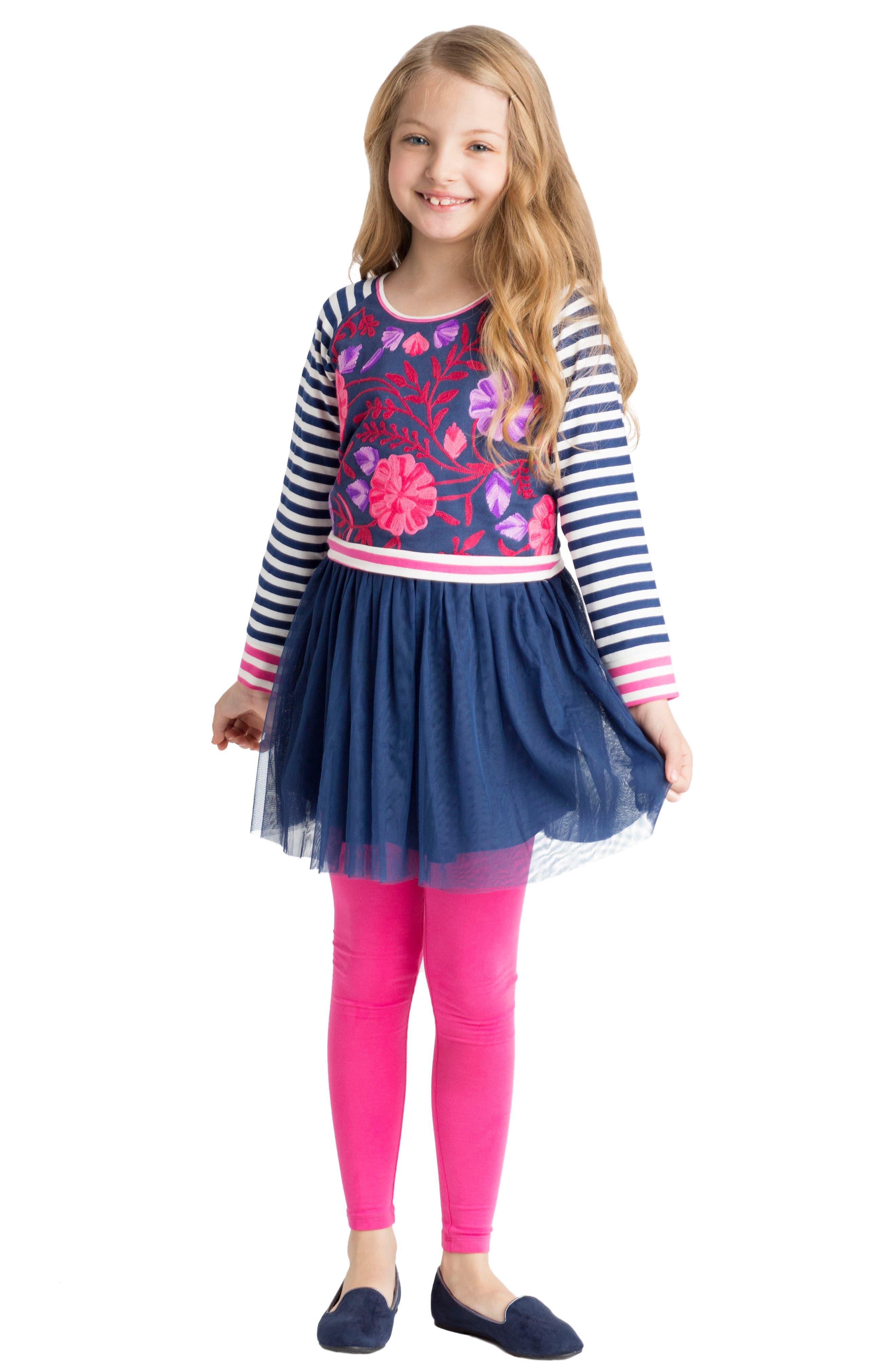 Alternate Image 3  - Masalababy Floral & Stripe Organic Cotton Dress (Toddler Girls, Little Girls & Big Girls)