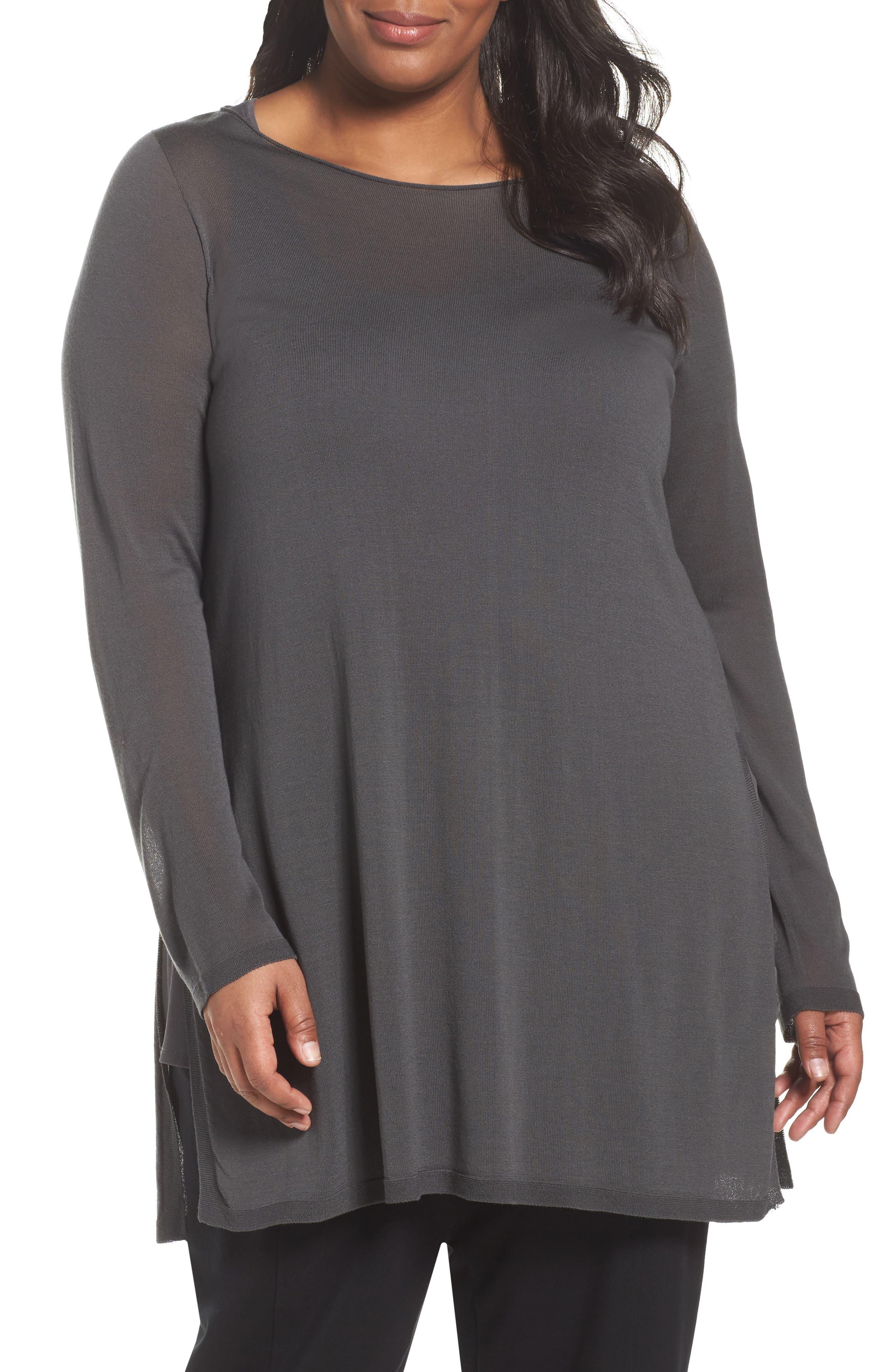 Eileen Fisher Ballet Neck Tencel® Tunic Top (Plus Size)