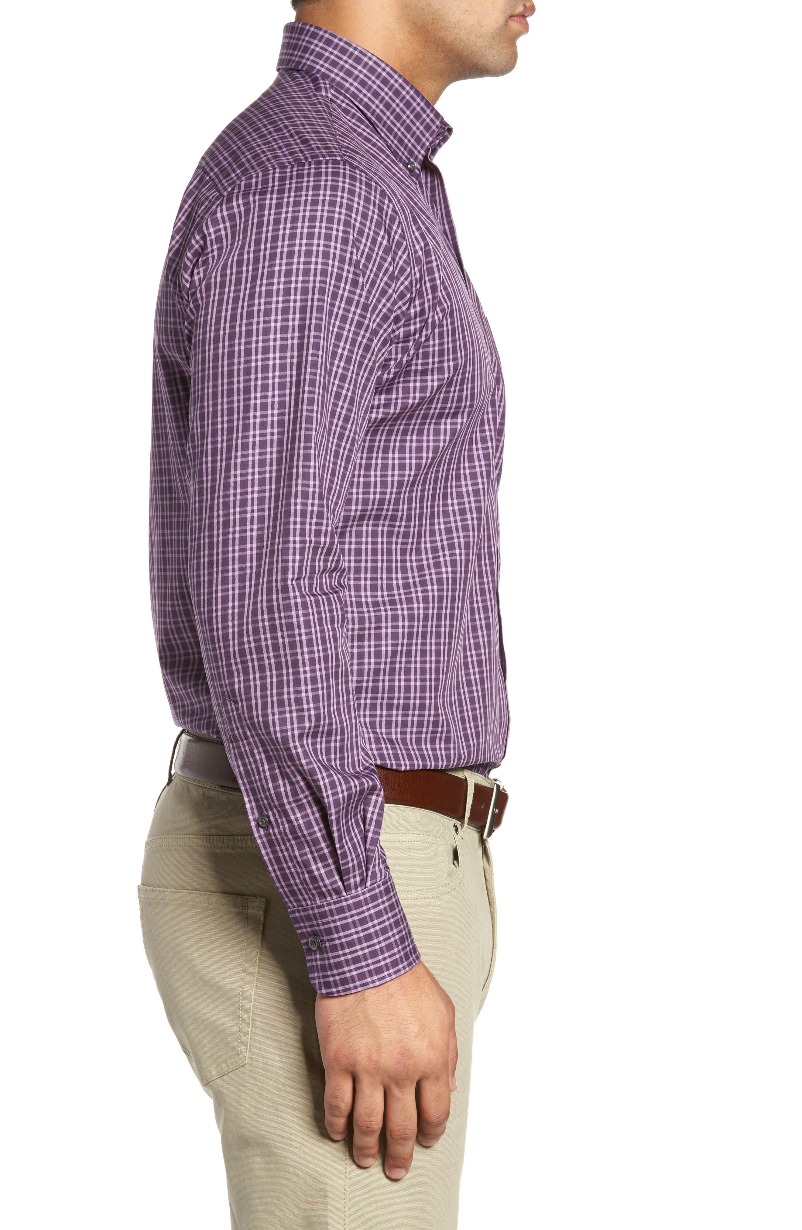 Autumn Check Regular Fit Sport Shirt,                             Alternate thumbnail 3, color,                             Blackberry