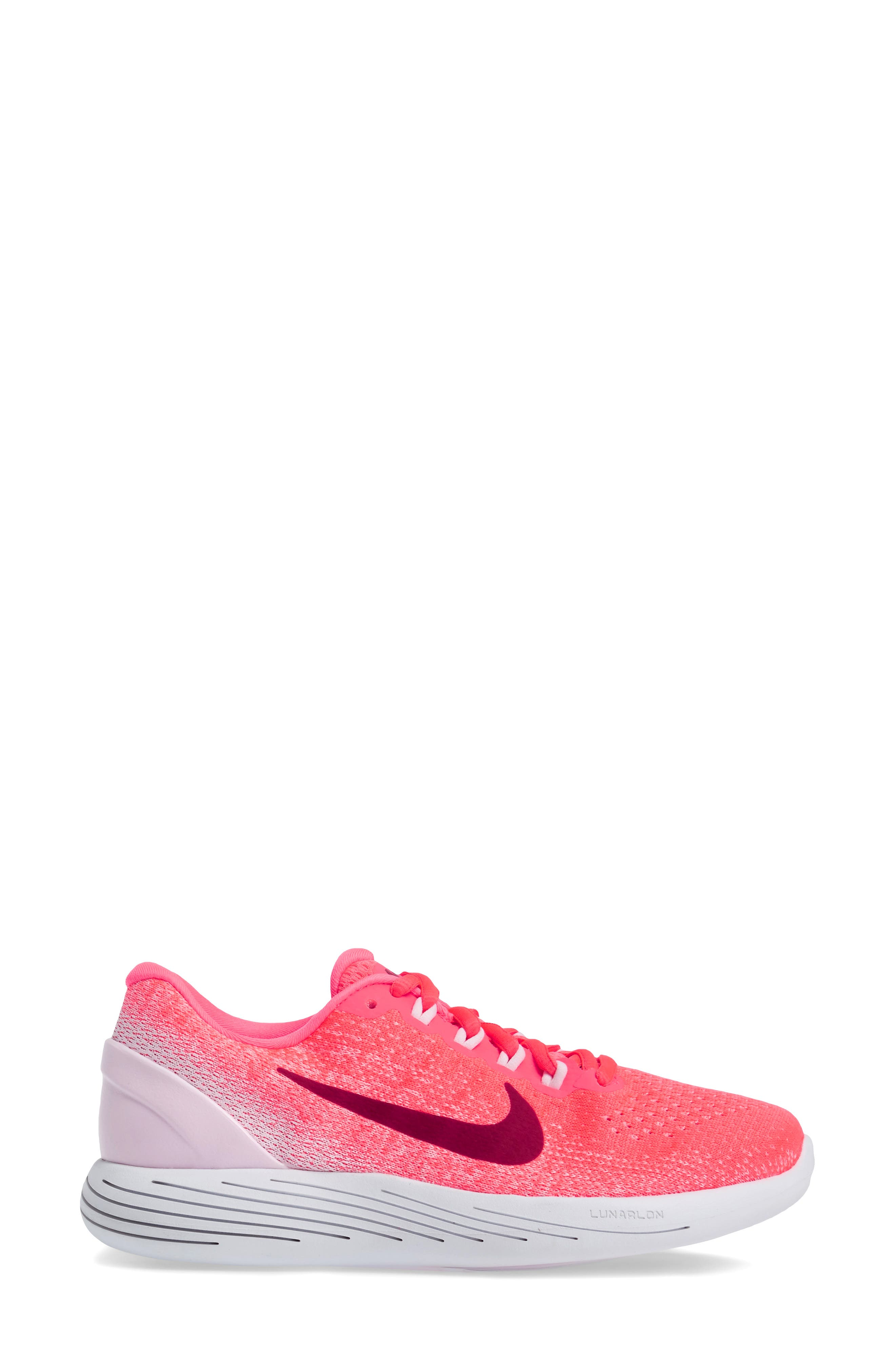 LunarGlide 9 Running Shoe,                             Alternate thumbnail 4, color,                             Hot Punch/ Noble Red/ Arctic
