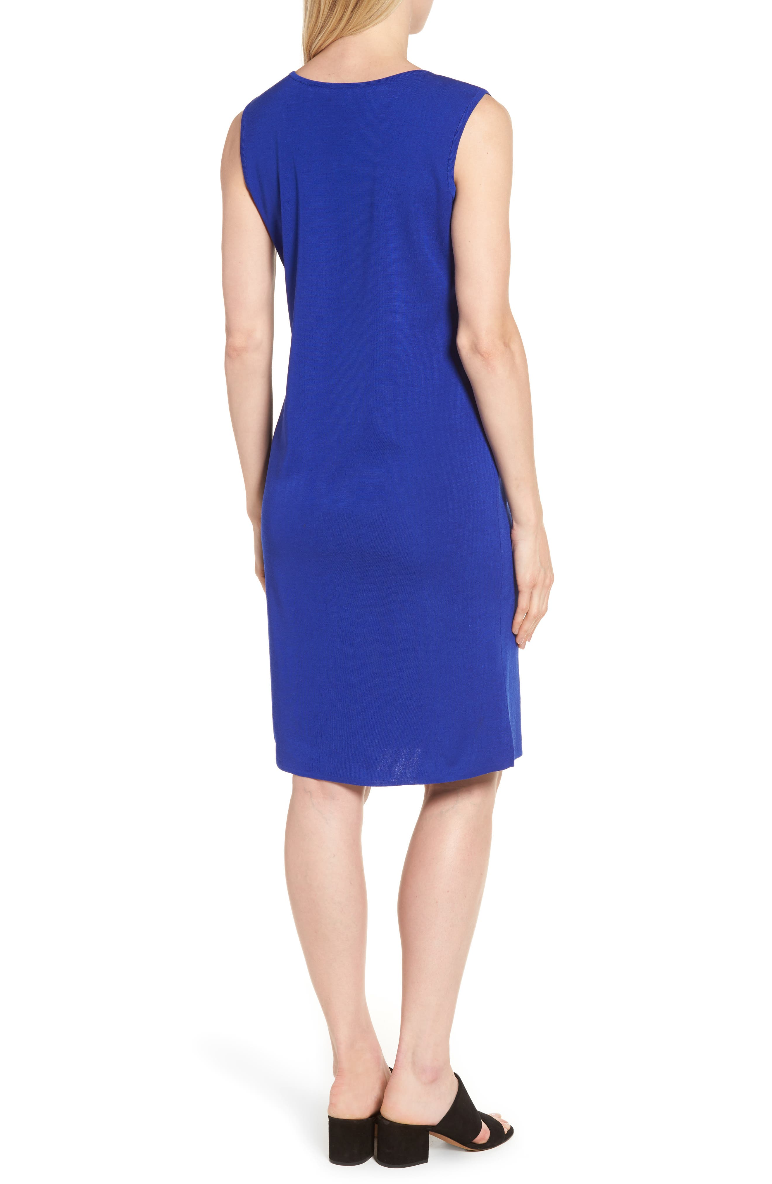 Knit Sheath Dress,                             Alternate thumbnail 3, color,                             Blue Flame