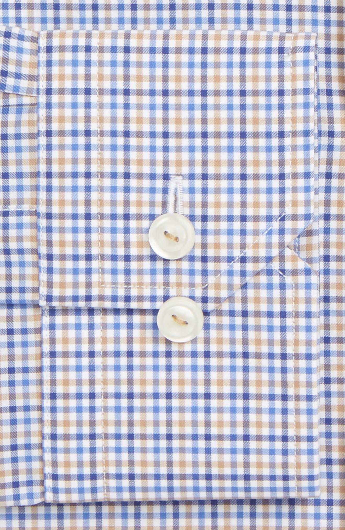 Contemporary Fit Check Dress Shirt,                             Alternate thumbnail 2, color,                             Blue/ Tan