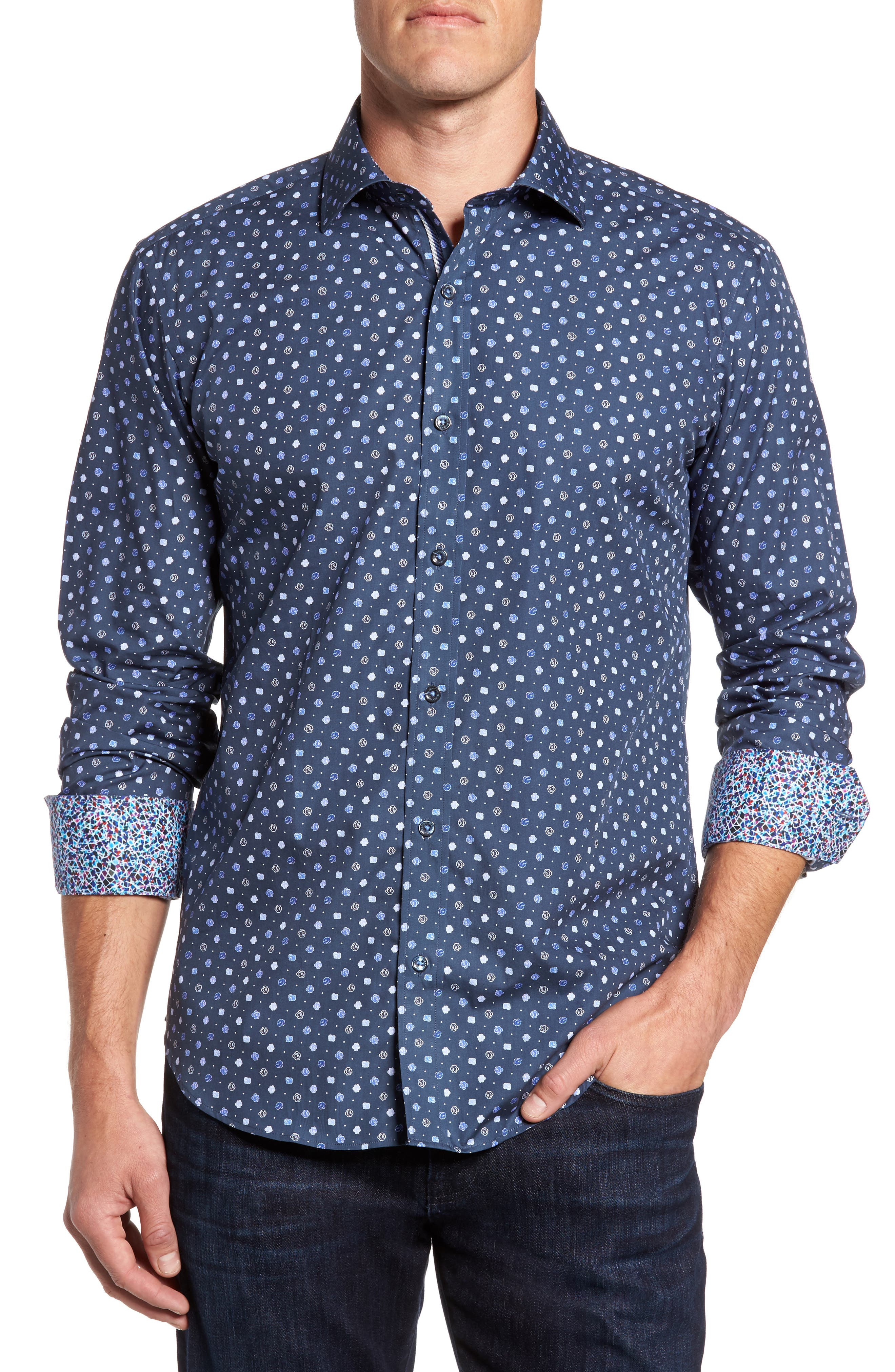 Shaped Fit Flower Print Sport Shirt,                             Main thumbnail 1, color,                             Navy
