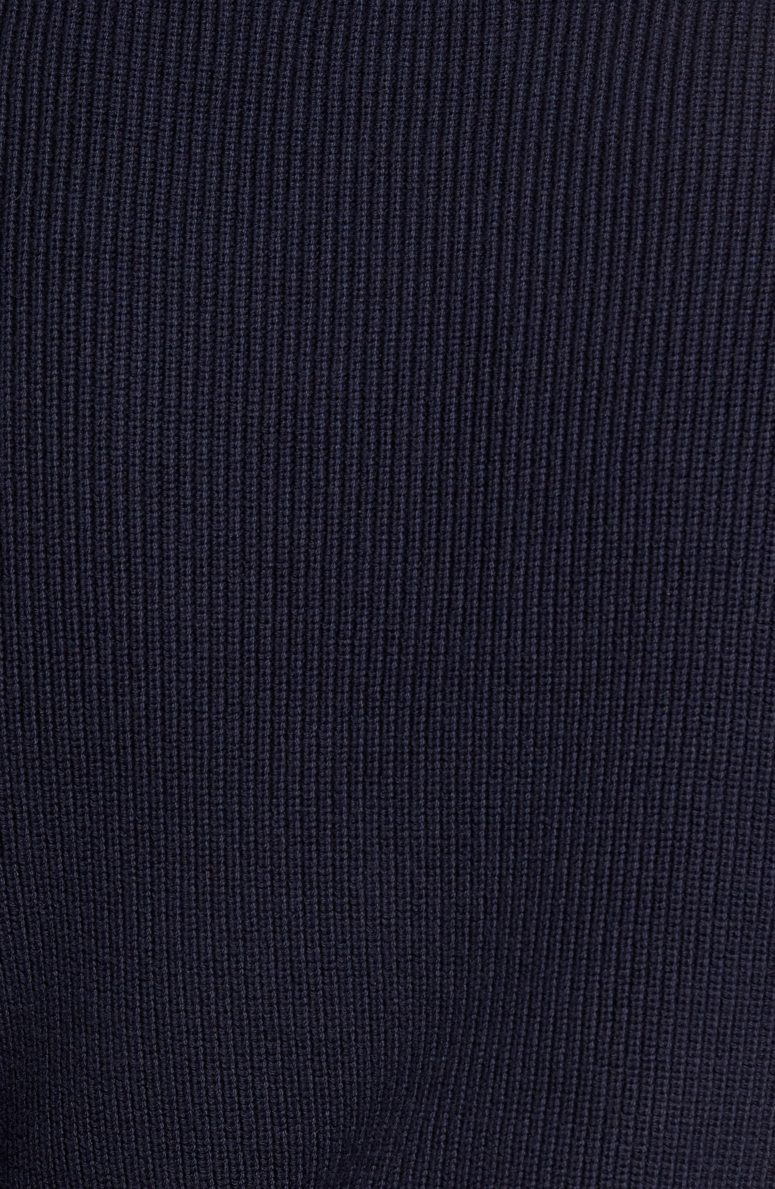 Ribbed Quarter Zip Sweater,                             Alternate thumbnail 5, color,                             Navy Night