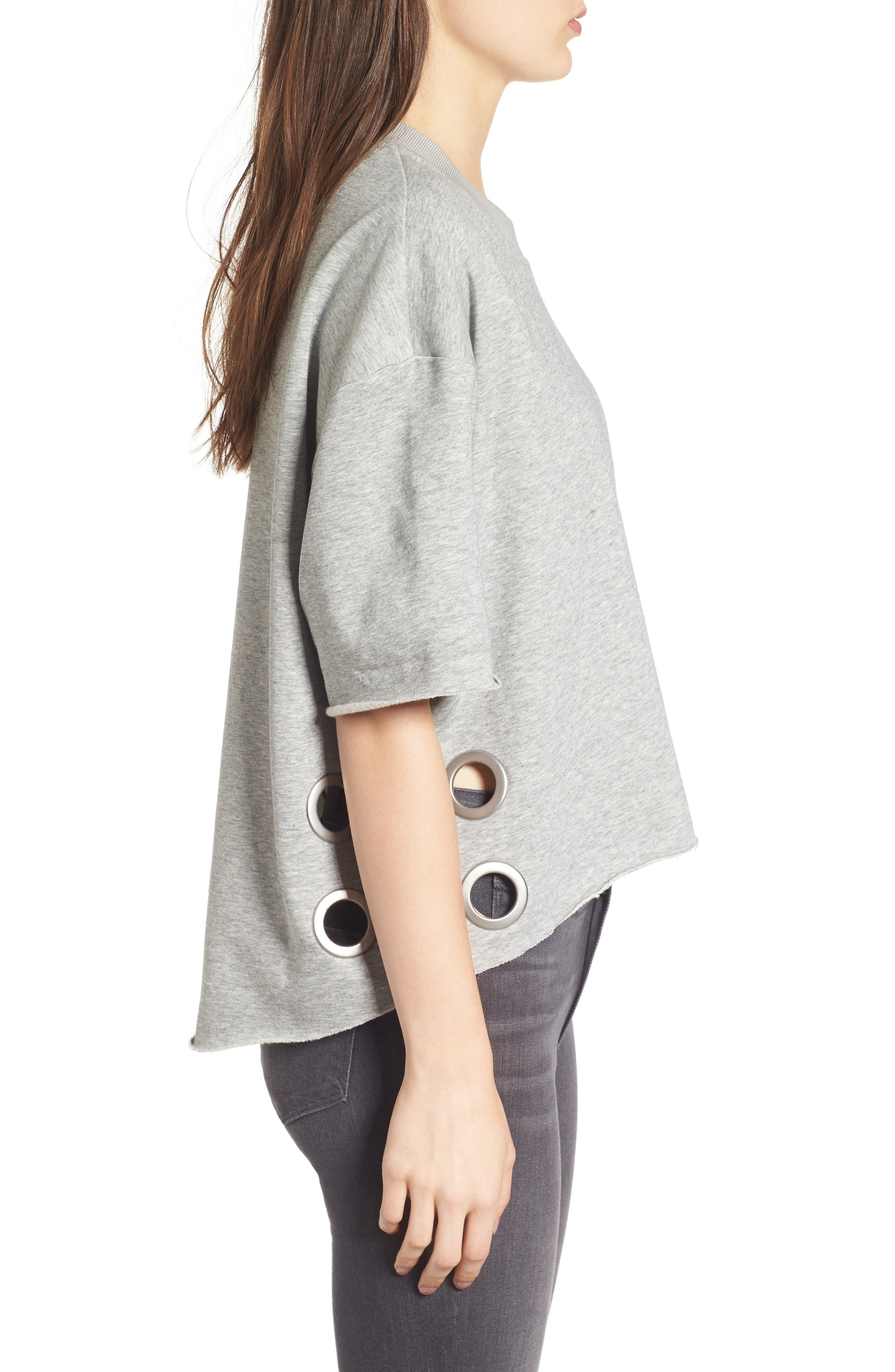 Grommet Pullover,                             Alternate thumbnail 3, color,                             Medium Heather Grey