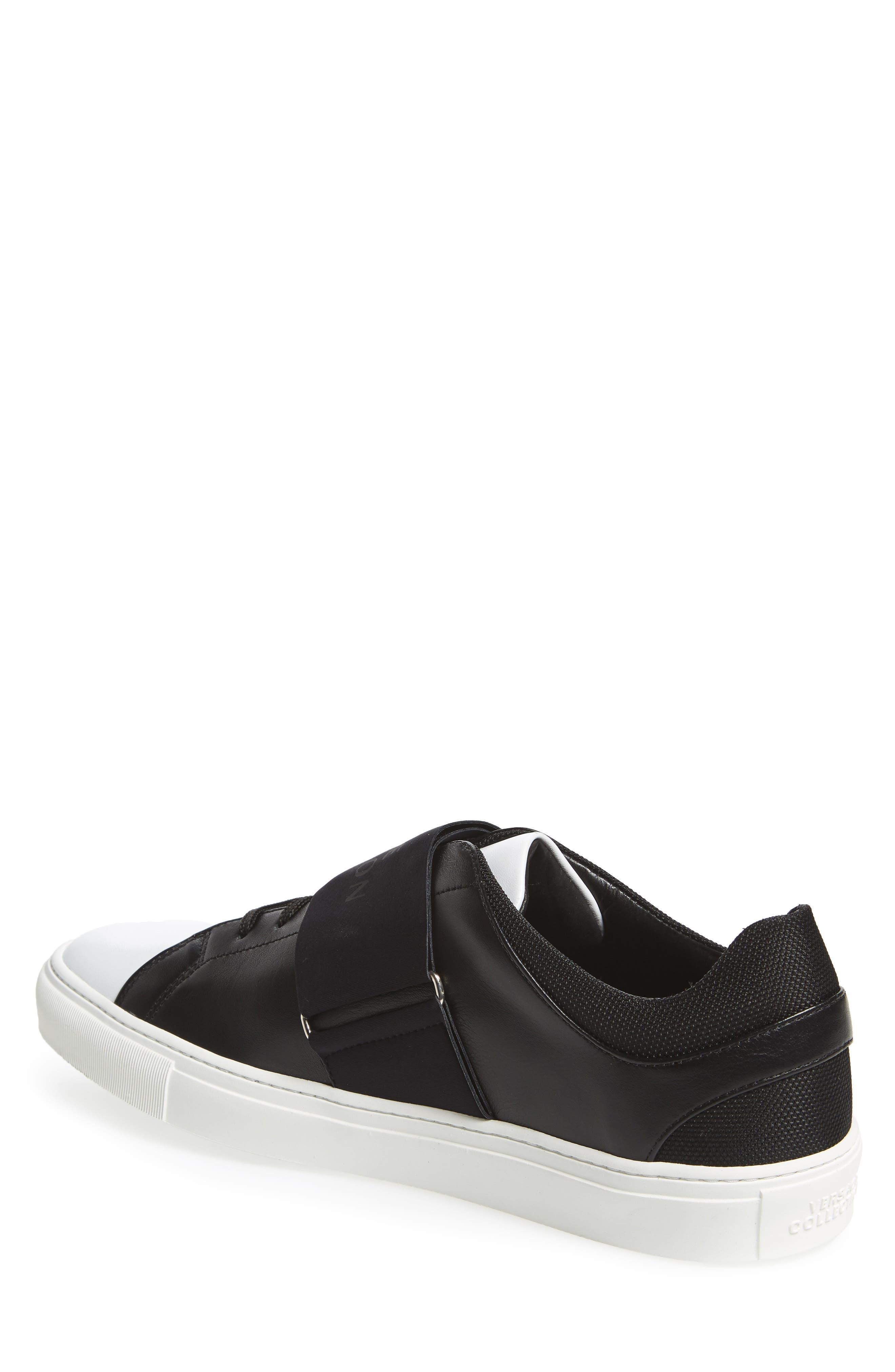 Strap Sneaker,                             Alternate thumbnail 2, color,                             Bianco/ Nero Leather