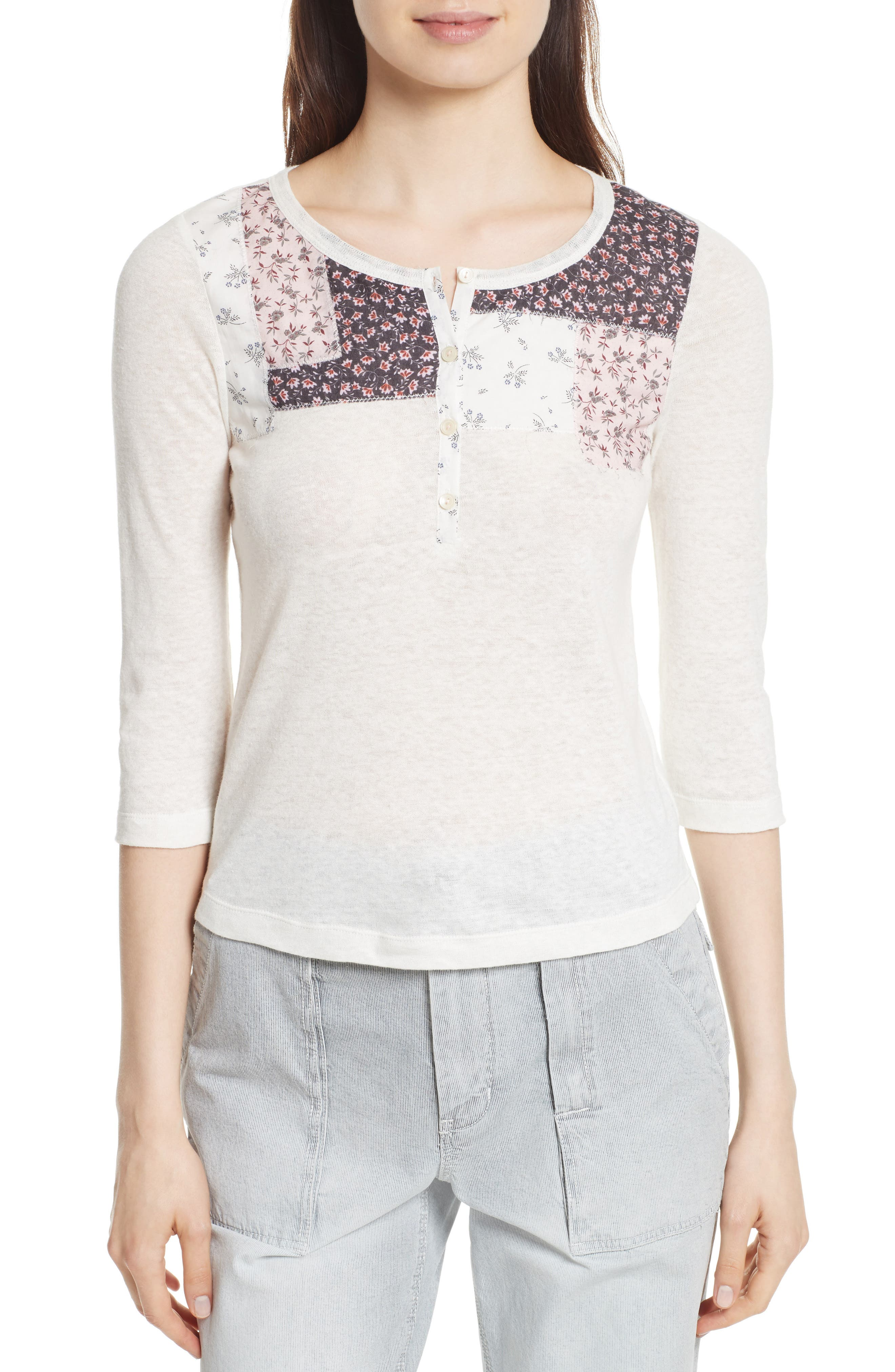 Main Image - La Vie Rebecca Taylor Patchwork Jersey Henley
