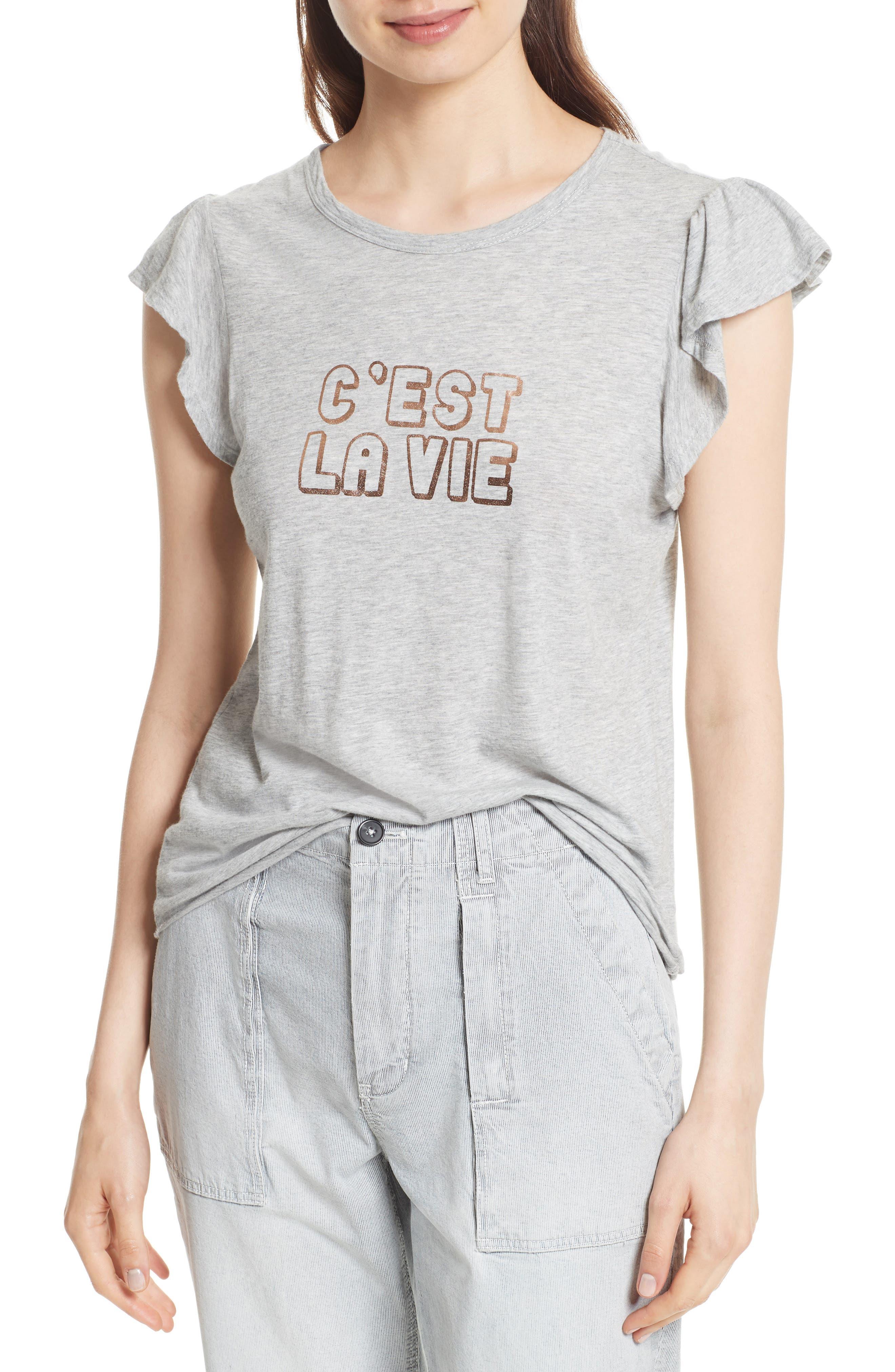Foil Logo Flutter Sleeve Tee,                         Main,                         color, Heather Grey