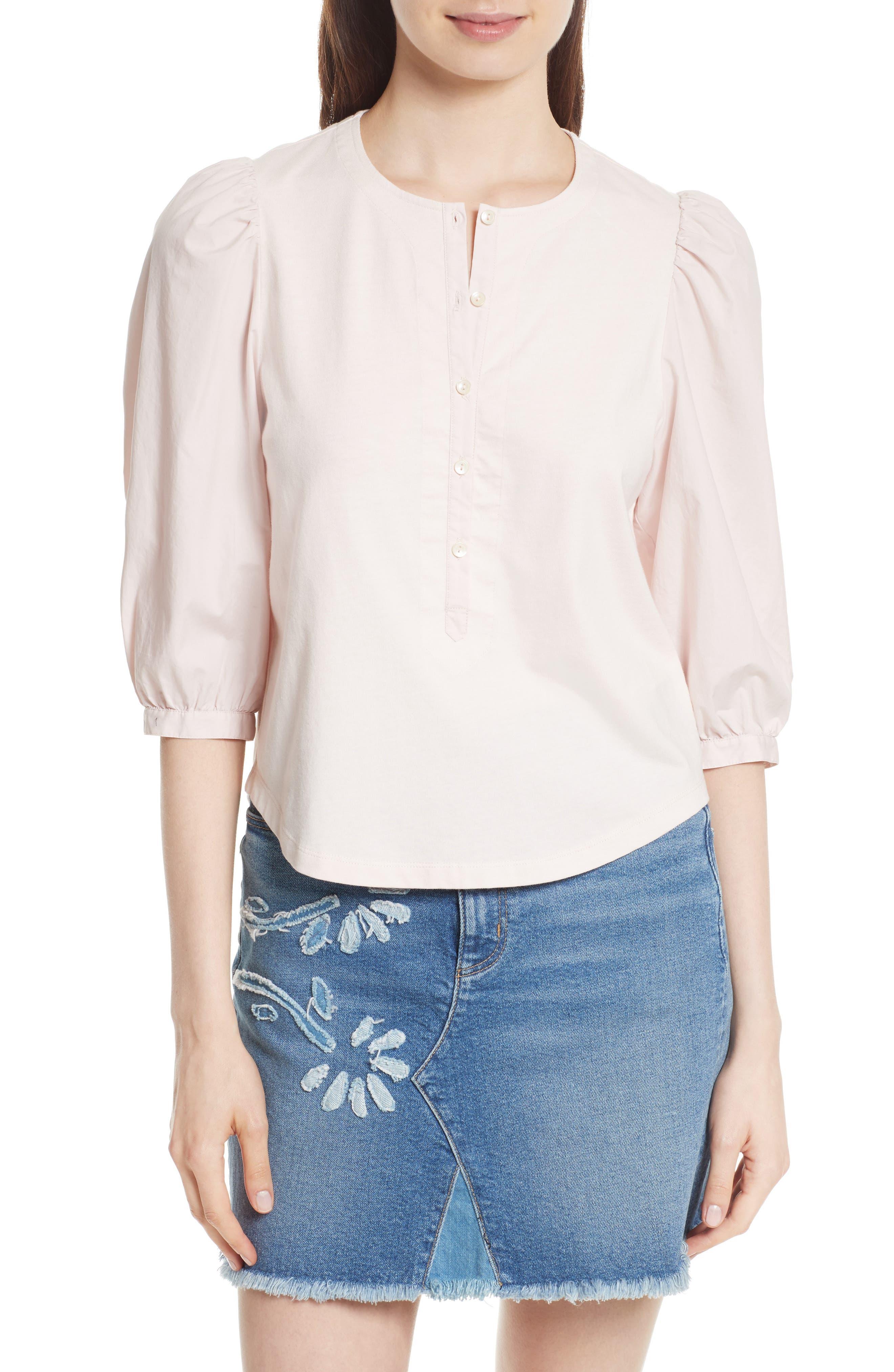 Poplin Sleeve Jersey Top,                         Main,                         color, Magnolia