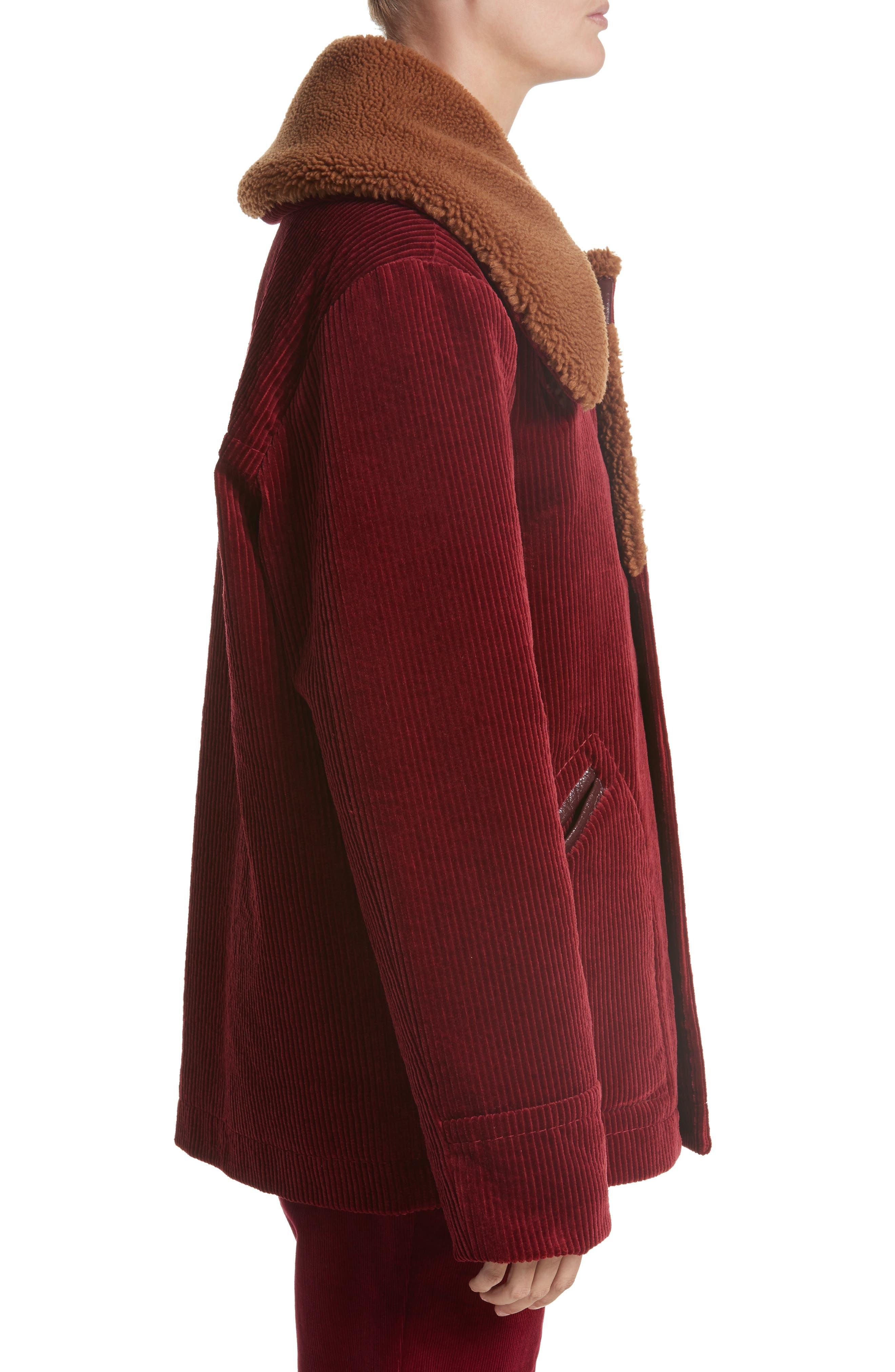 Corduroy Coat with Faux Shearling Collar,                             Alternate thumbnail 3, color,                             Bordeaux