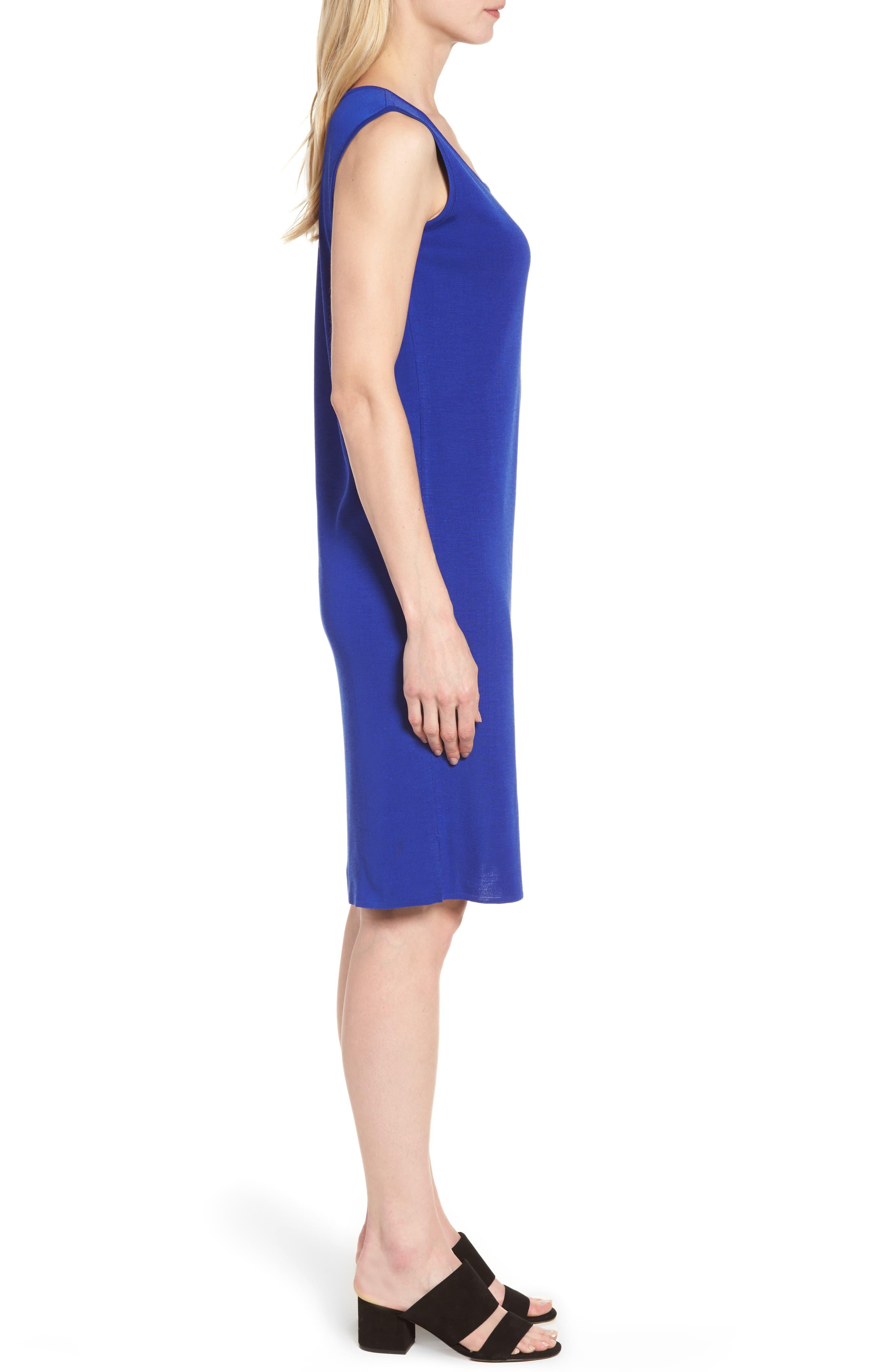 Knit Sheath Dress,                             Alternate thumbnail 4, color,                             Blue Flame