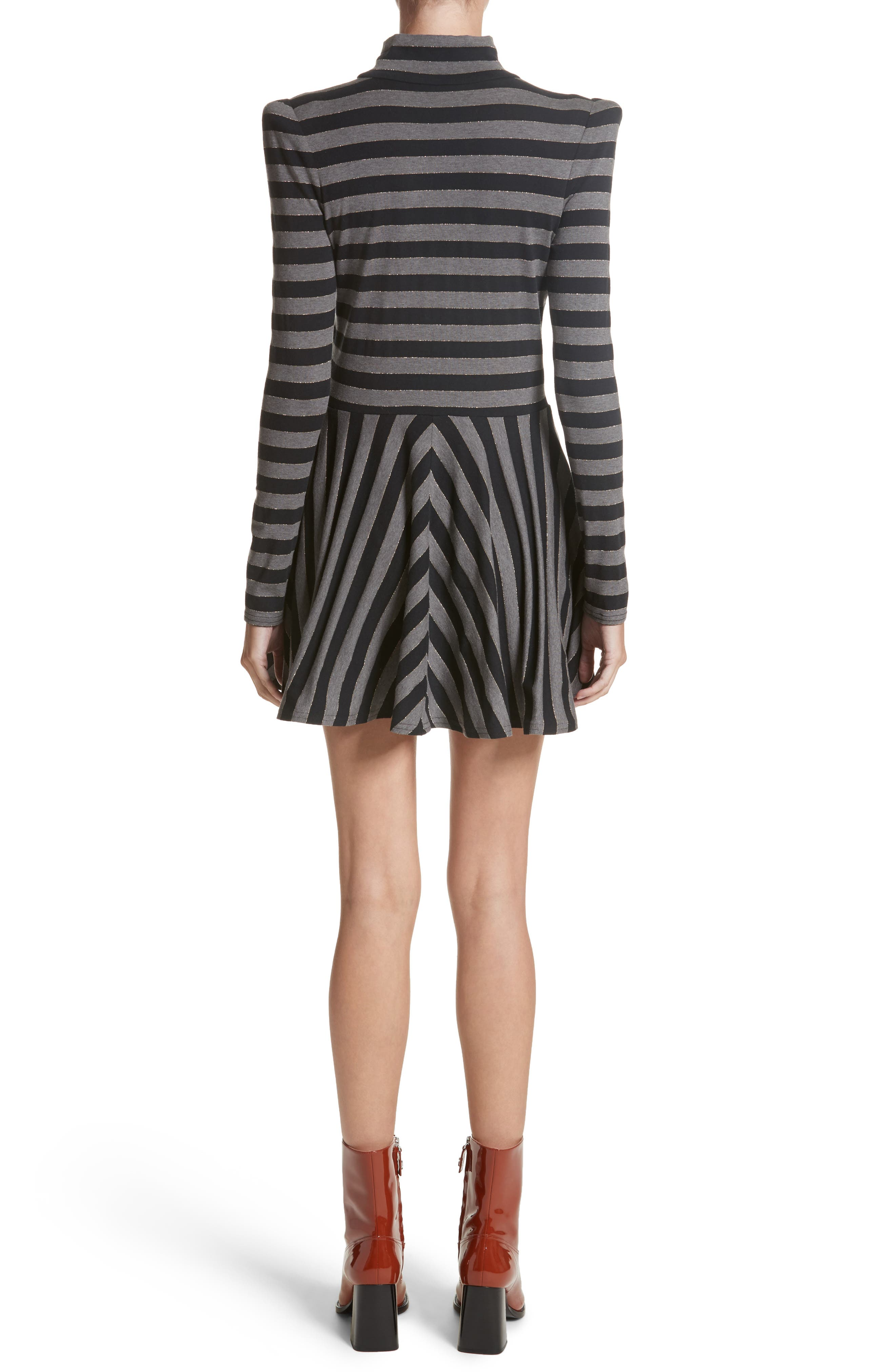 Stripe Jersey Fit & Flare Dress,                             Alternate thumbnail 2, color,                             Grey Multi