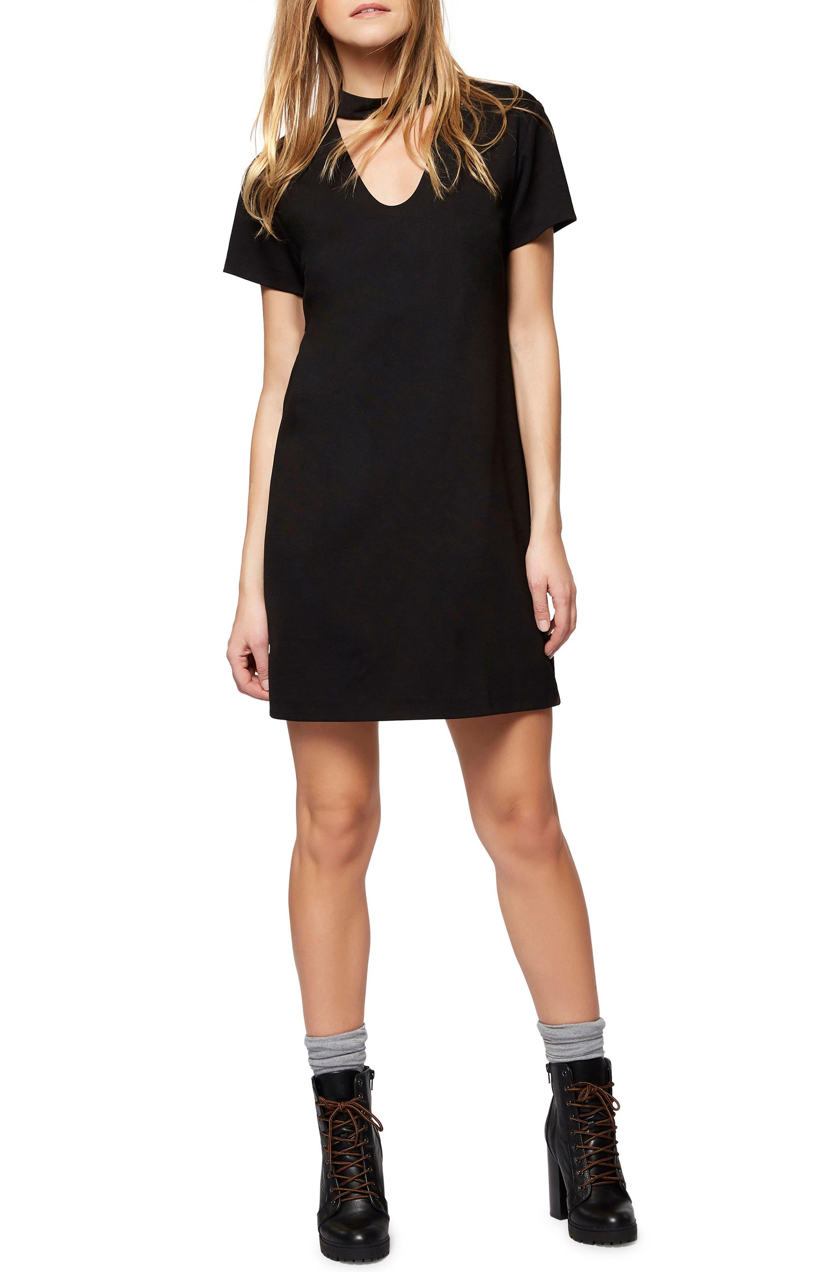 Madeline Choker Shift Dress,                         Main,                         color, Black
