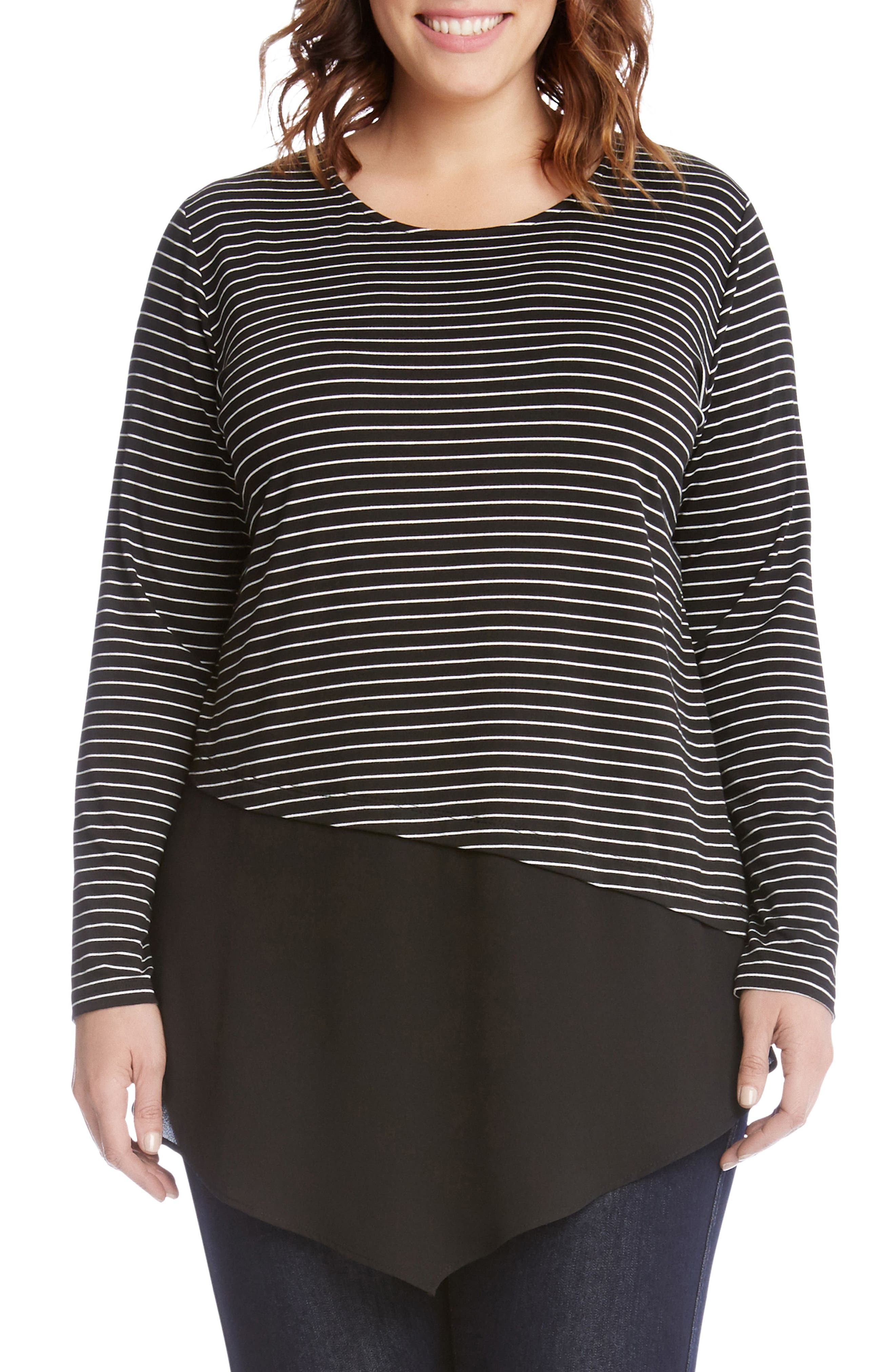 Main Image - Karen Kane Asymmetrical Stripe Mixed Media Top (Plus Size)