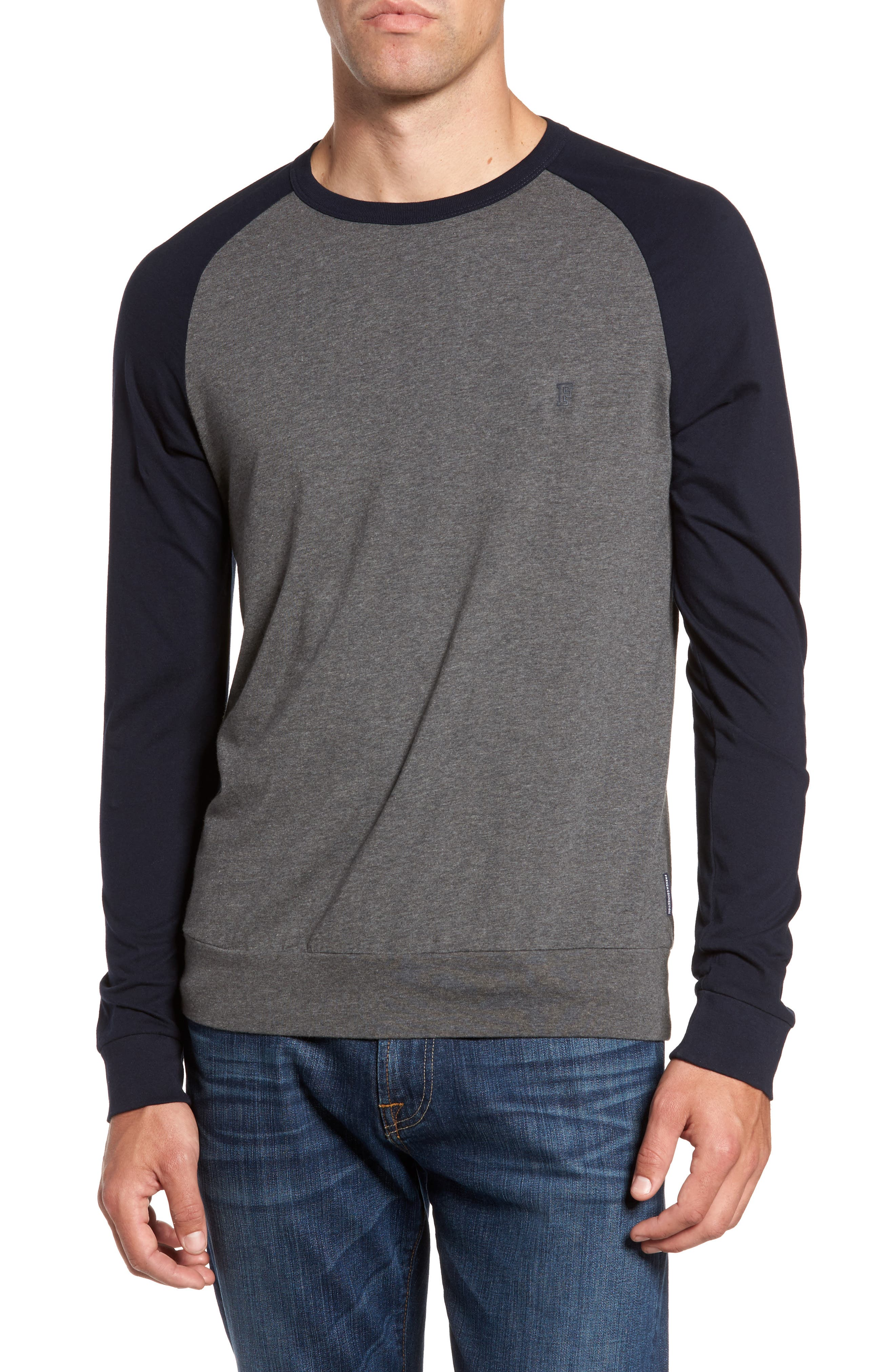 Classic Long Sleeve Raglan T-Shirt,                         Main,                         color, Charcoal Melange/ Marine Blue