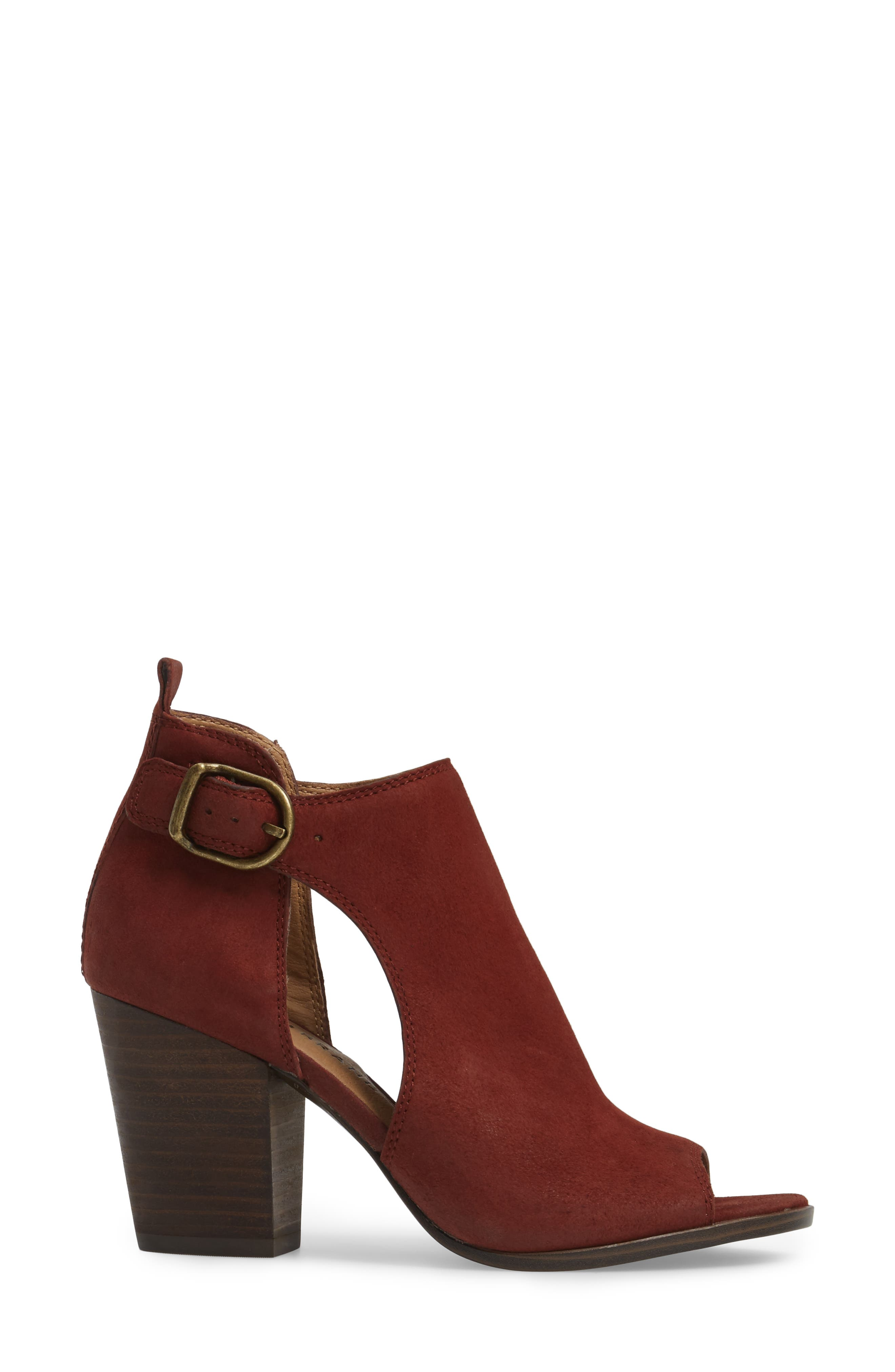 Oona Open Side Bootie,                             Alternate thumbnail 3, color,                             Sable Leather