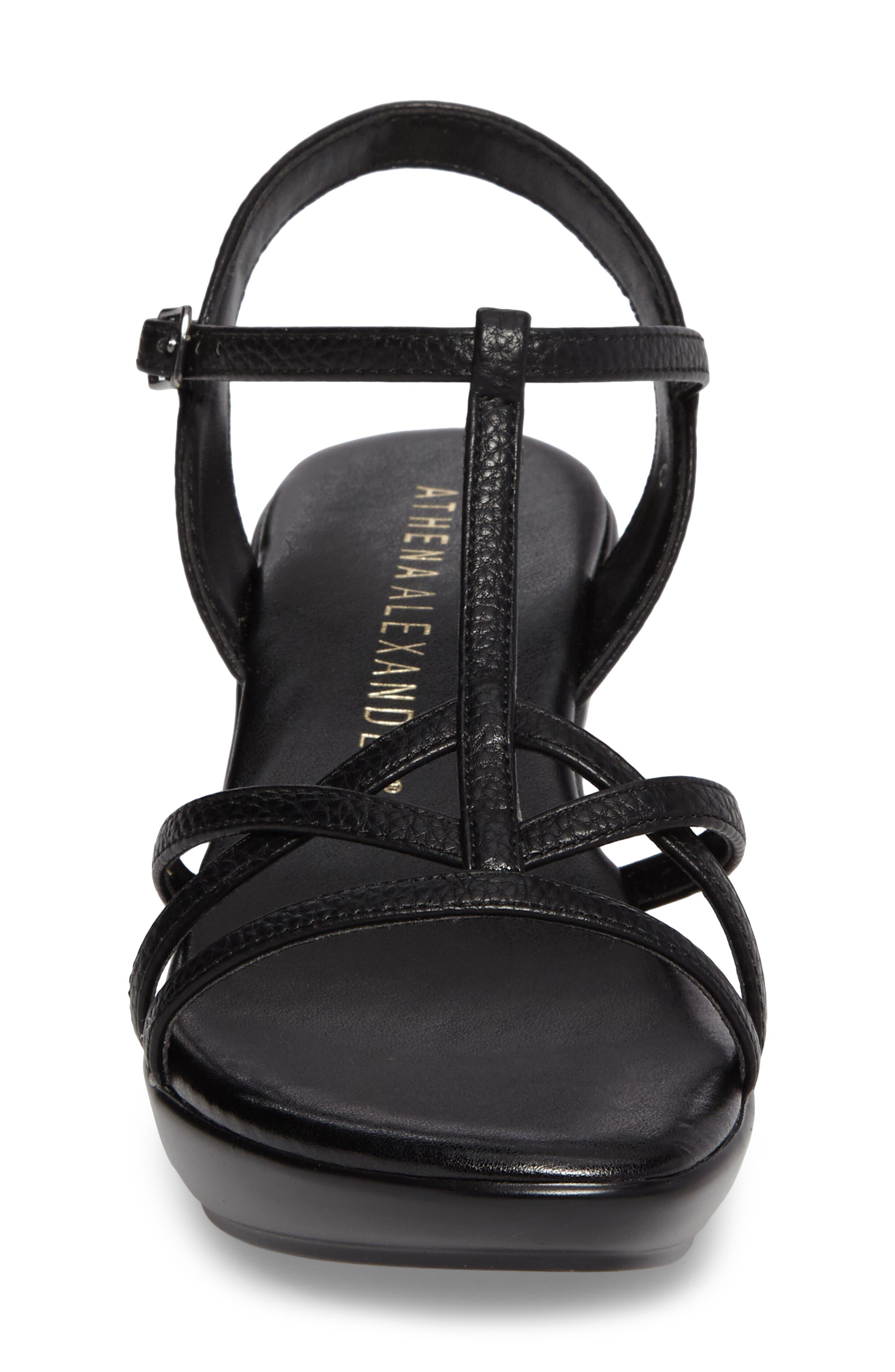 Cassort T-Strap Sandal,                             Alternate thumbnail 4, color,                             Black Faux Leather