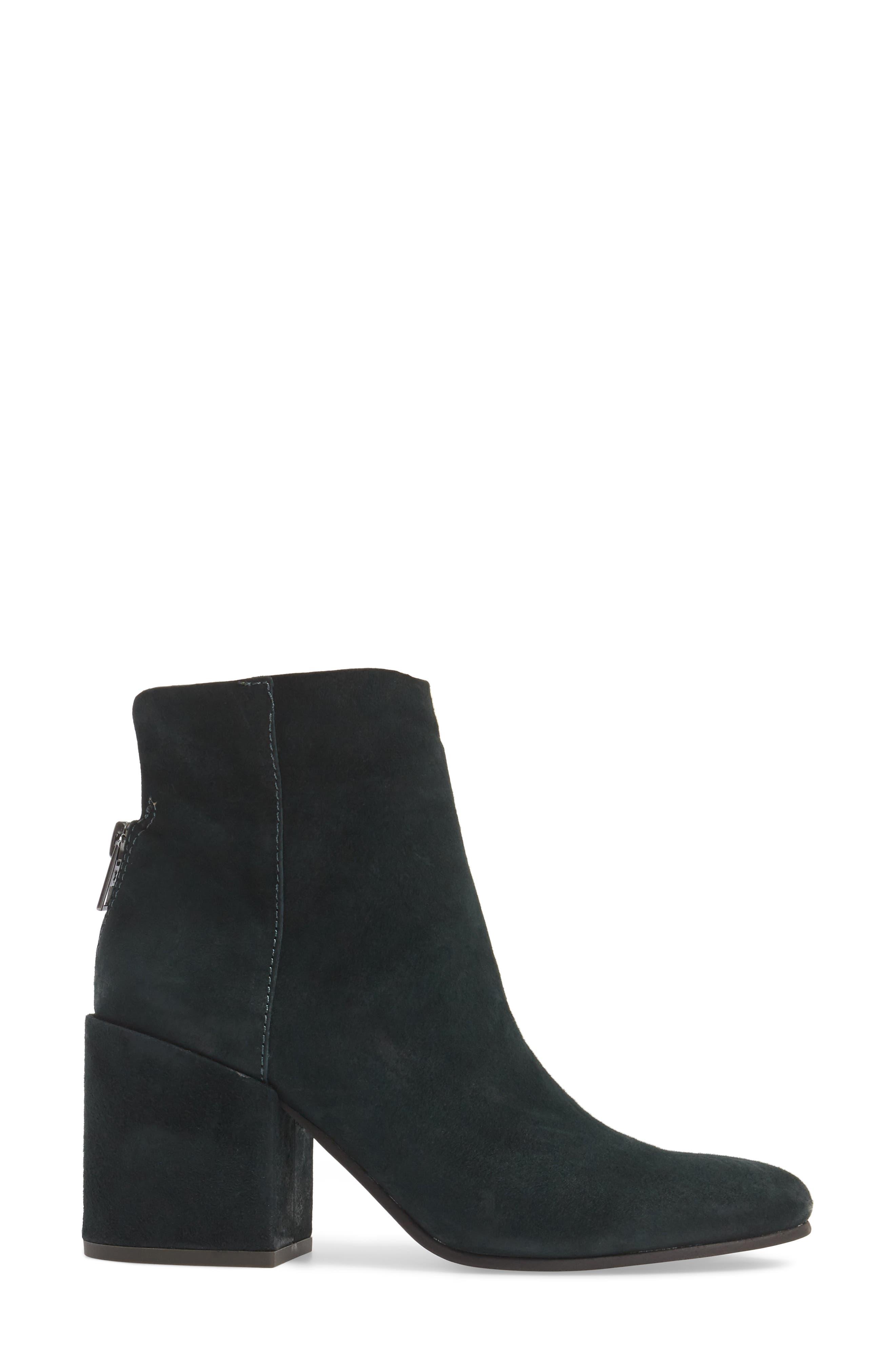 Ravynn Block Heel Bootie,                             Alternate thumbnail 3, color,                             Dark Cyan Leather