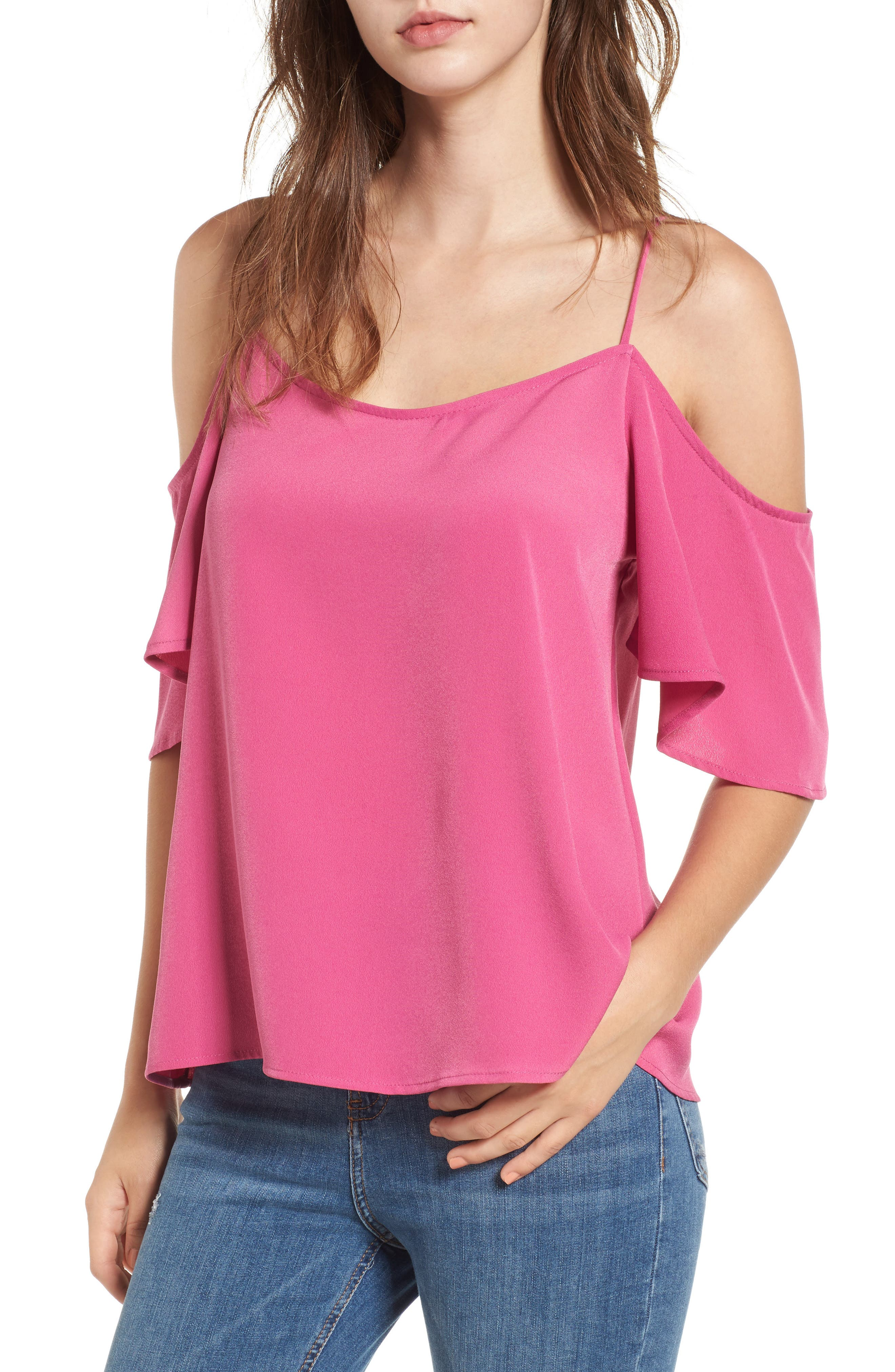 Cold Shoulder Top,                         Main,                         color, Pink Raspberry