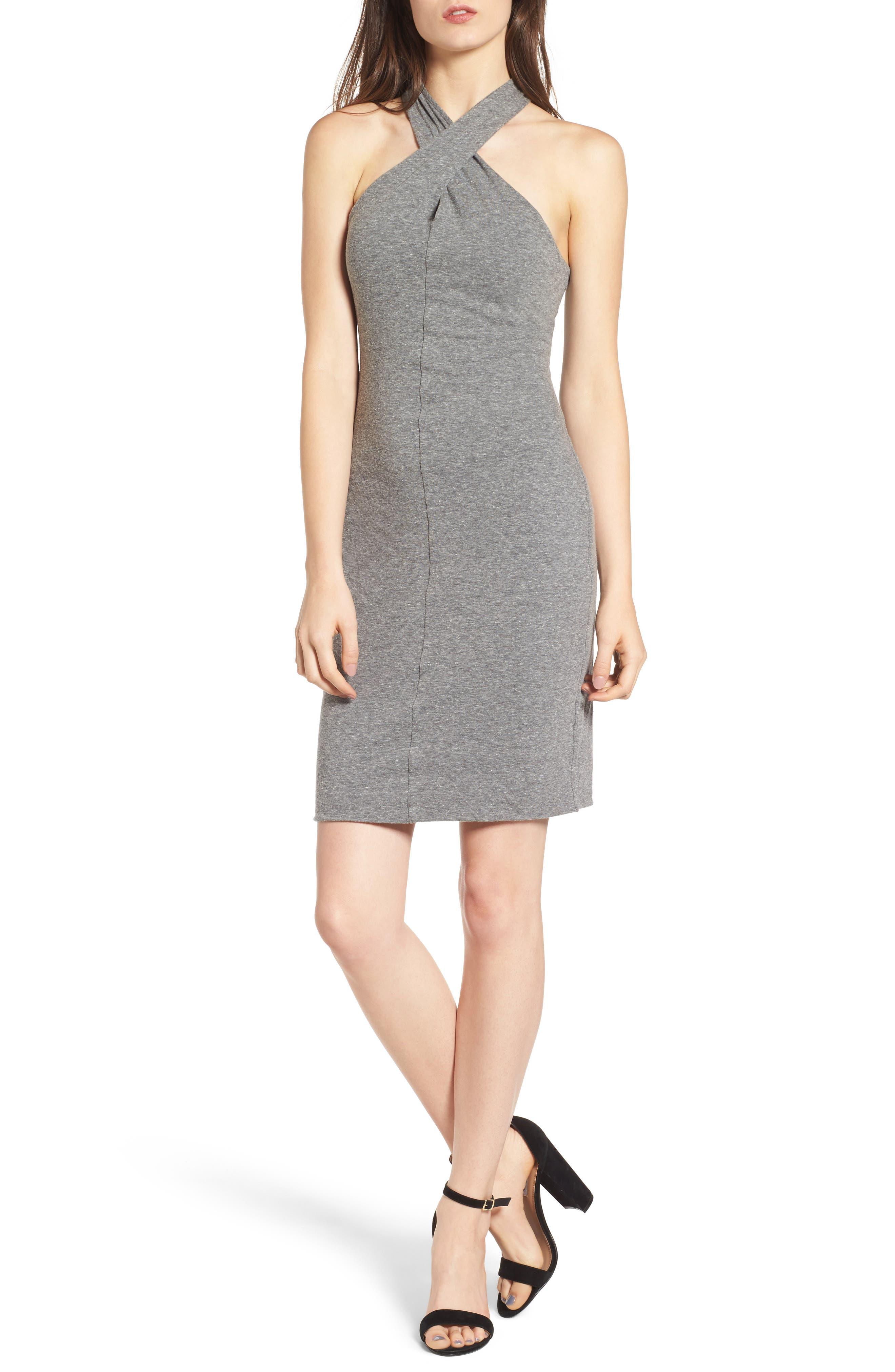 Twist Collar Body-Con Dress,                         Main,                         color, Heather Grey