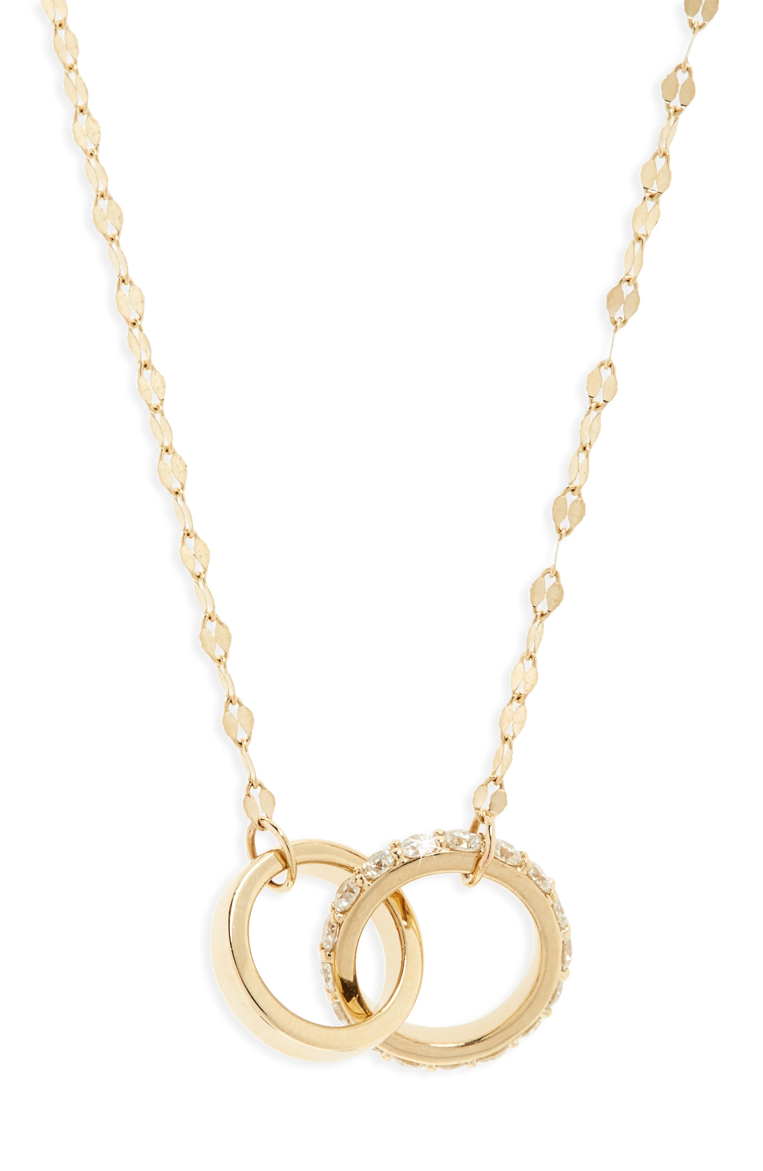 Flawless Diamond Link Pendant Necklace,                         Main,                         color, Yellow Gold