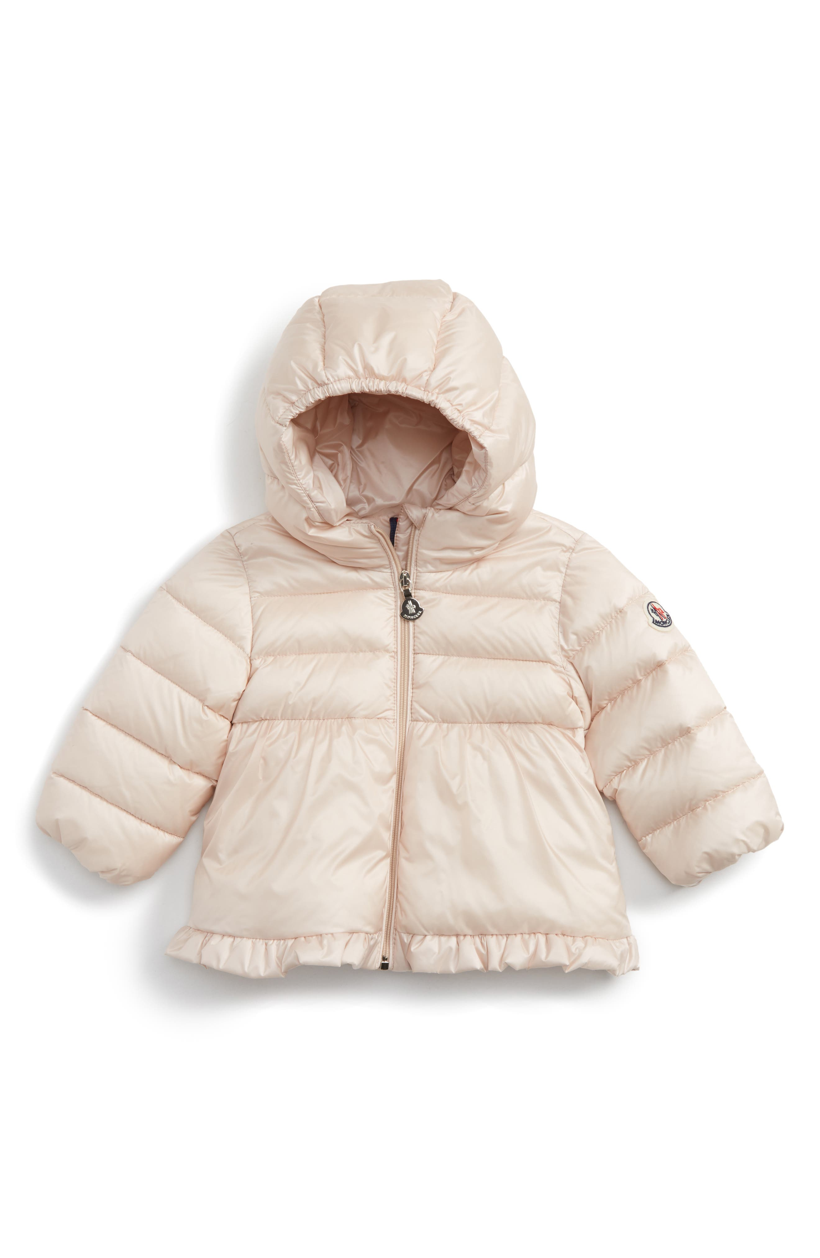Main Image - Moncler Odile Hooded Water Resistant Down Jacket (Baby Girls)