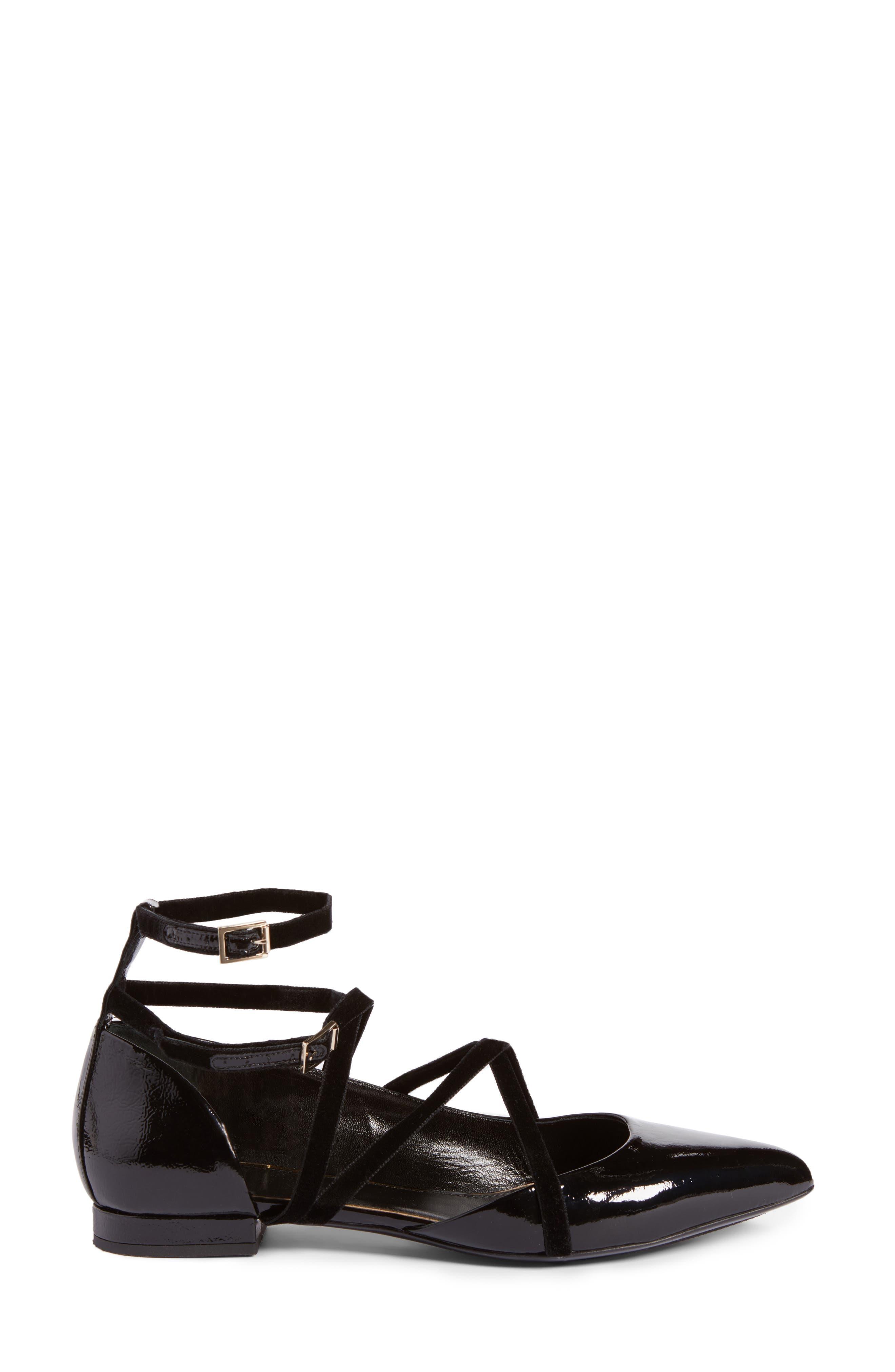 Strappy Ballet Flat,                             Alternate thumbnail 3, color,                             Black