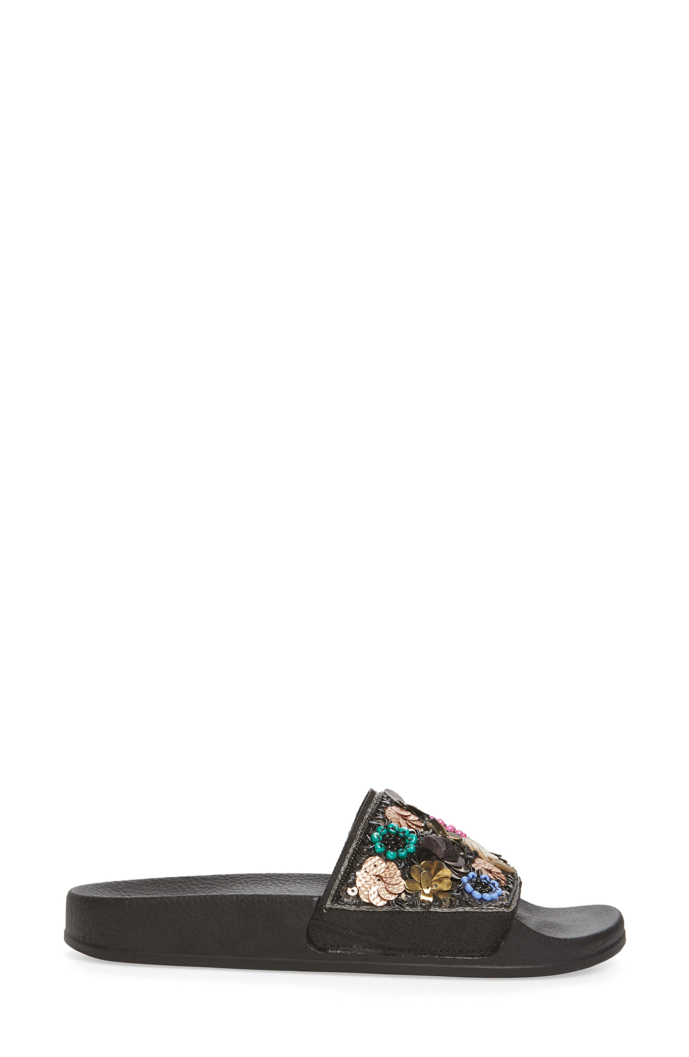 Maddy Embellished Slide Sandal,                             Alternate thumbnail 3, color,                             Flower Multi