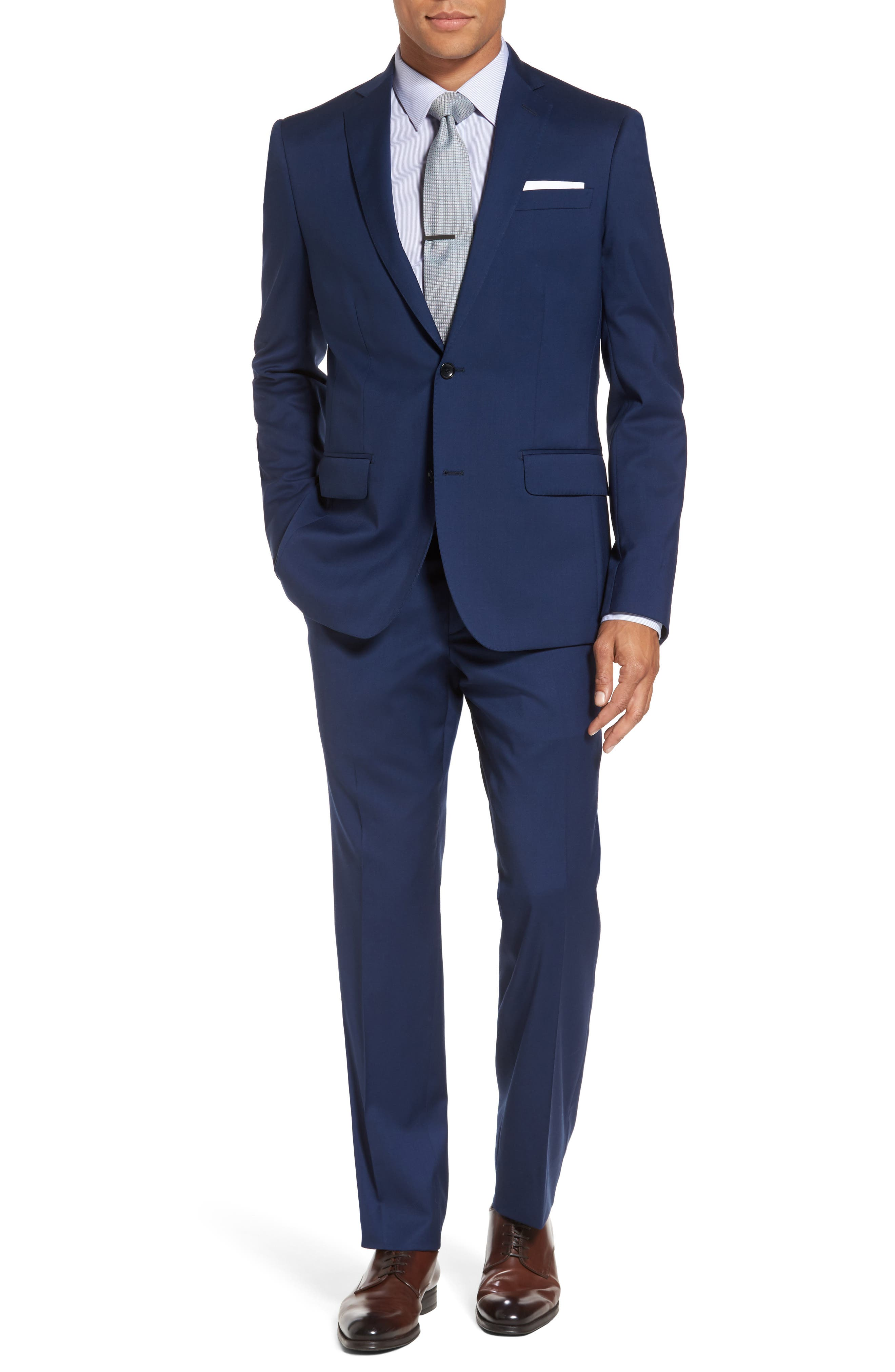 Classic Fit Solid Wool Suit,                         Main,                         color, High Blue