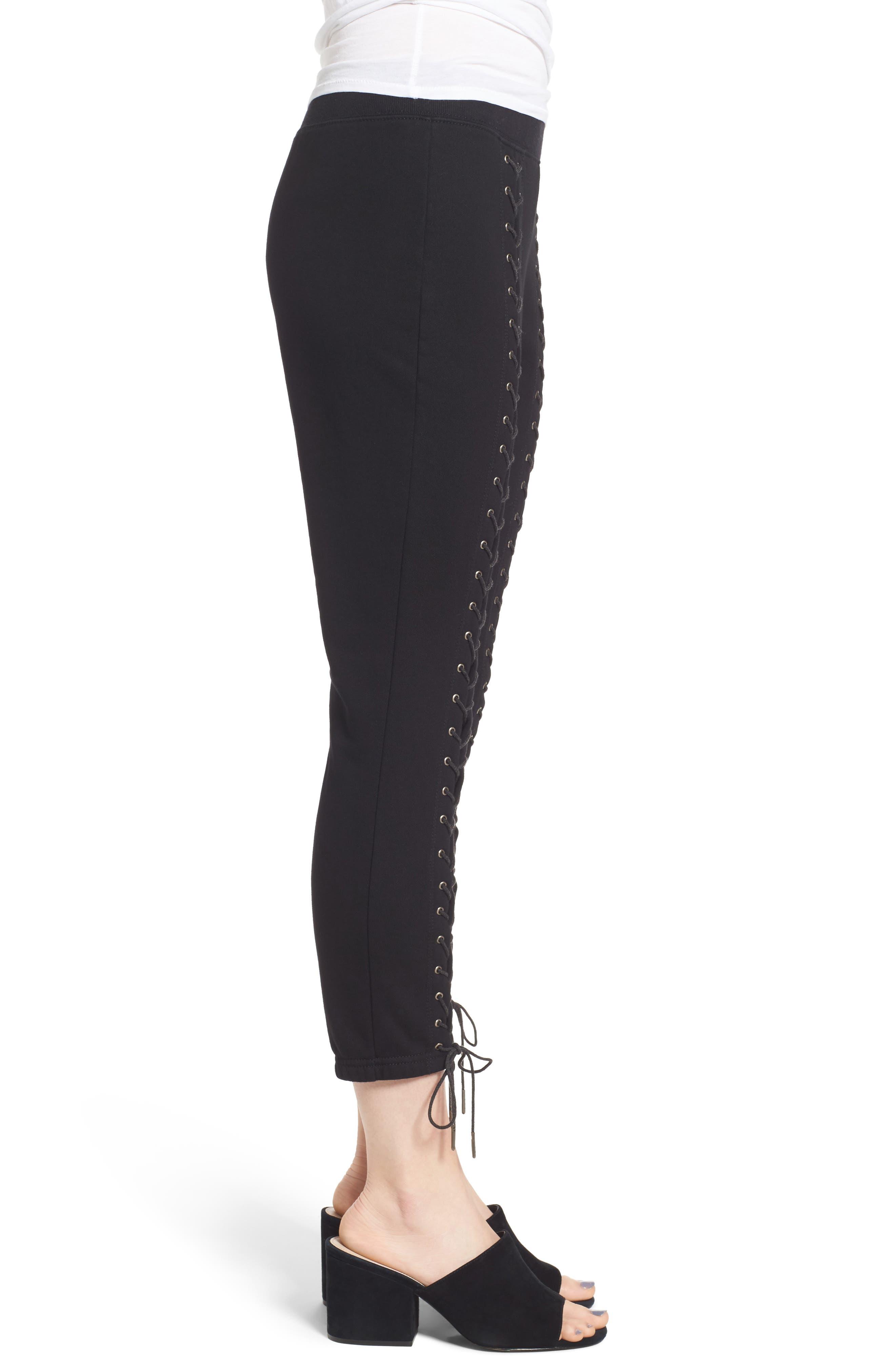Lace-Up Crop Sweatpants,                             Alternate thumbnail 3, color,                             Black