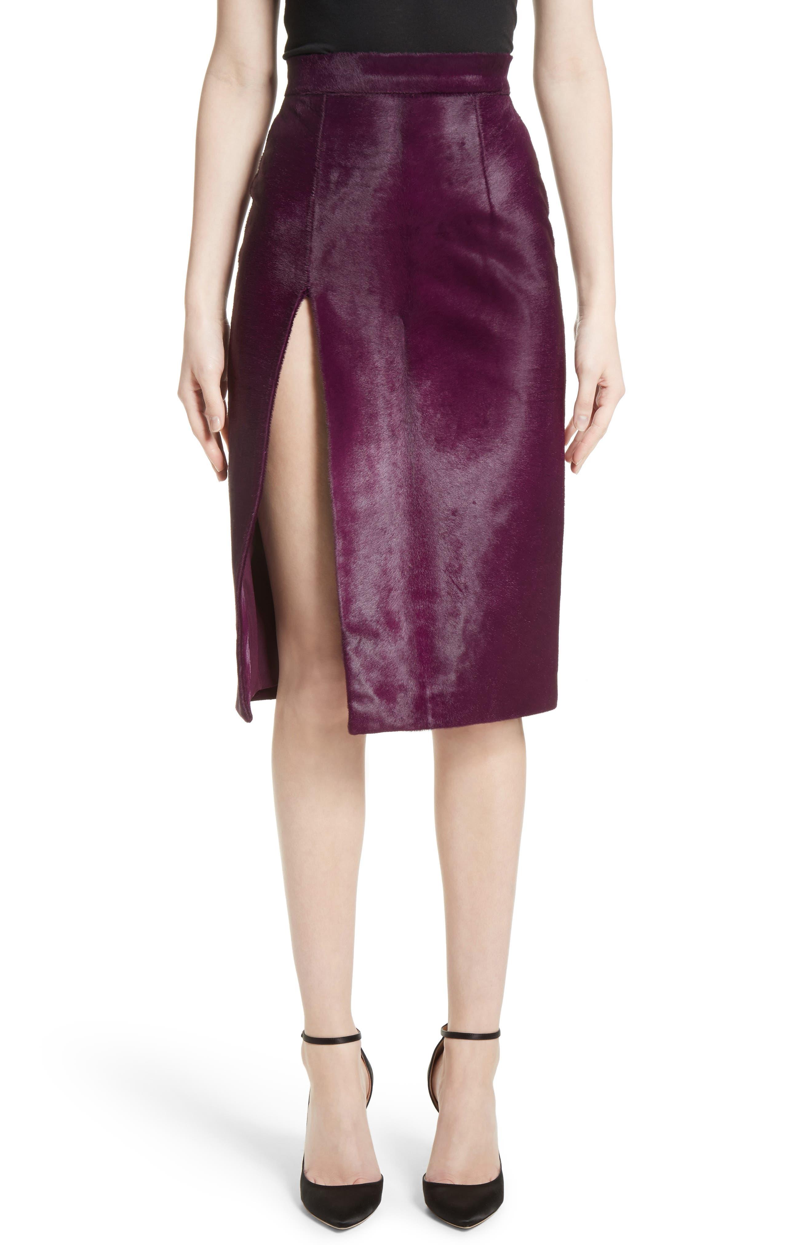 Genuine Calf Hair Pencil Skirt,                         Main,                         color, Purple