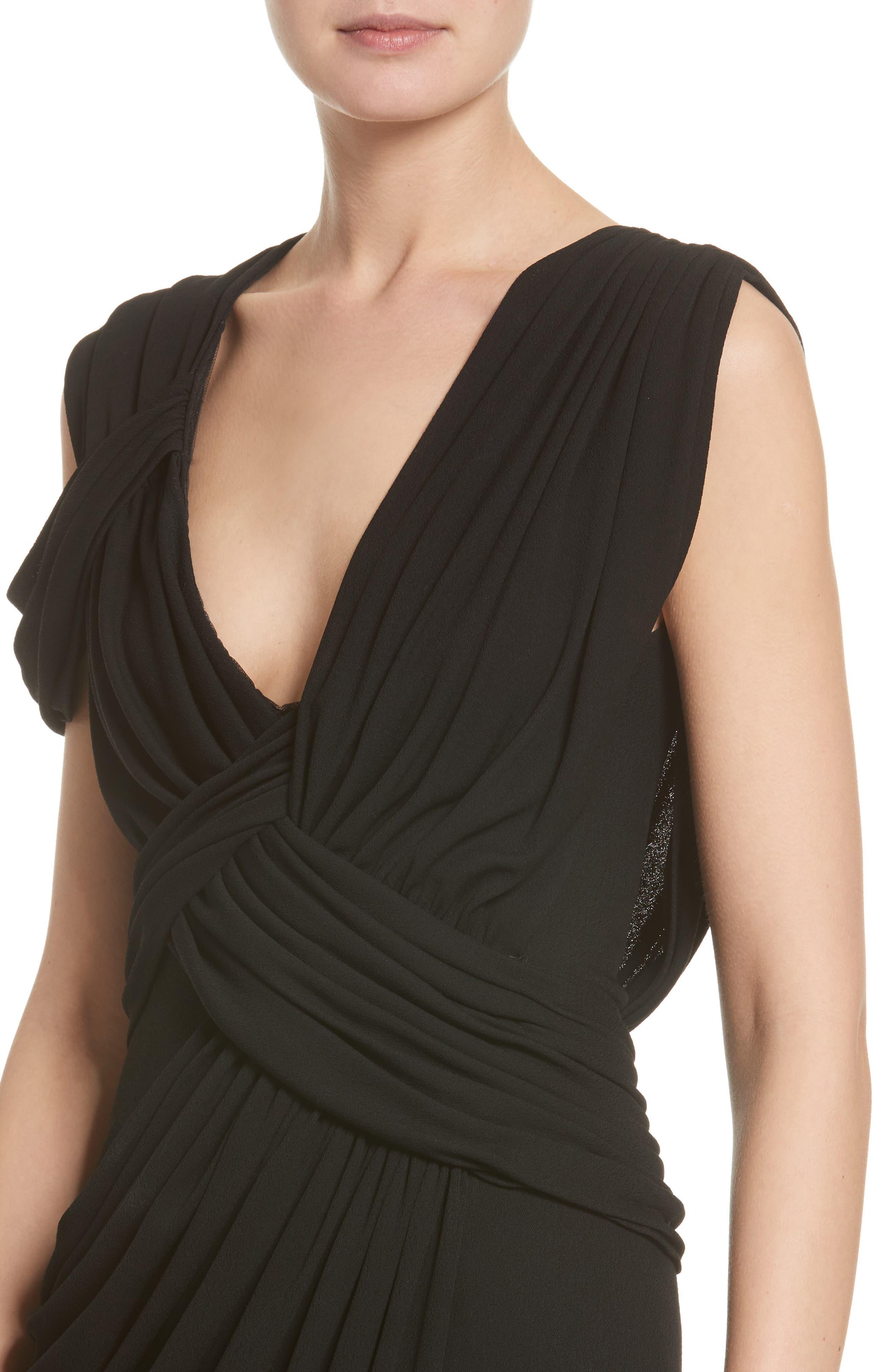 Draped Jersey Cocktail Dress,                             Alternate thumbnail 4, color,                             Black