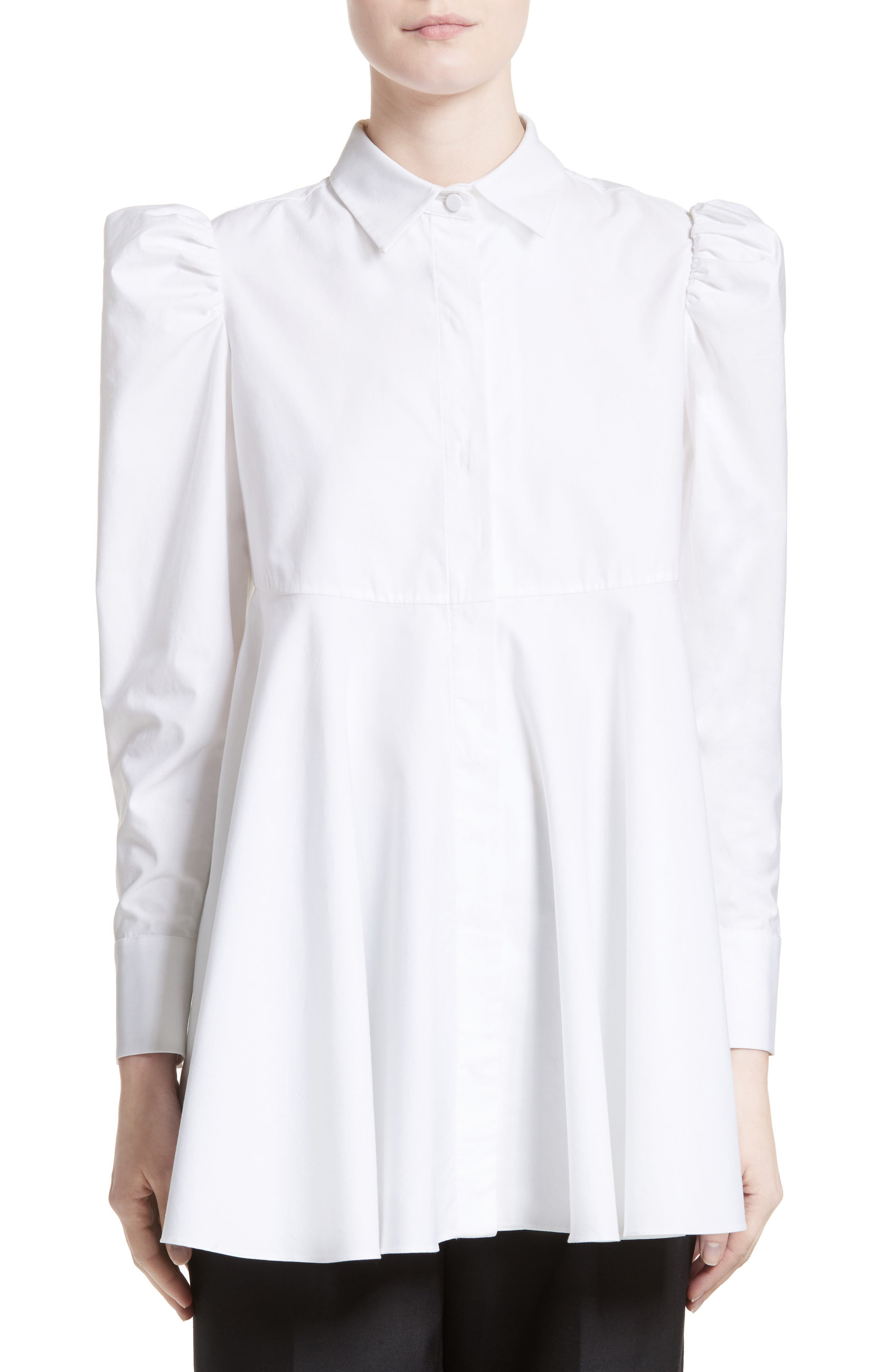 Cotton Puff Sleeve Blouse,                         Main,                         color, White