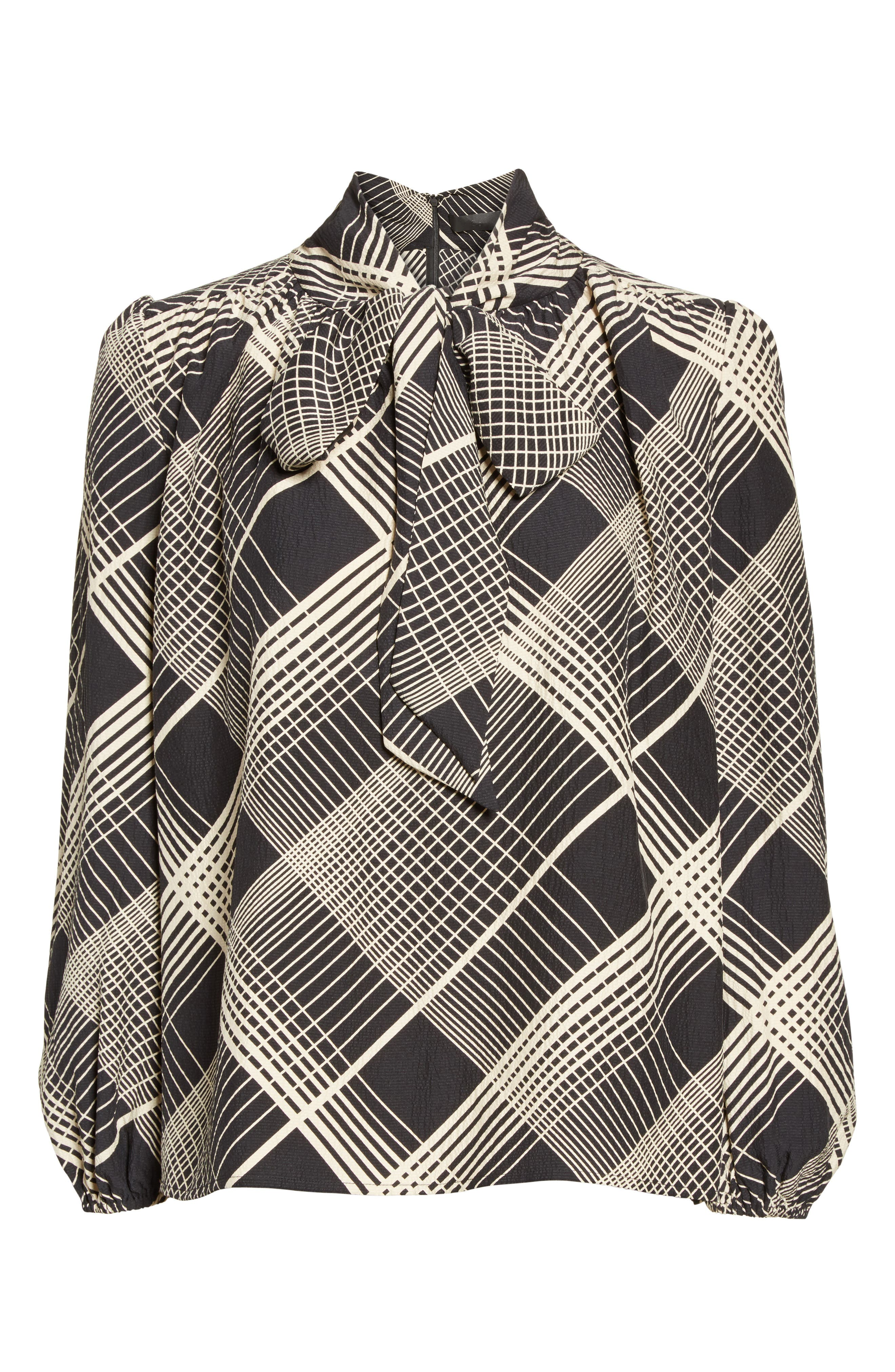 Plaid Silk Tie Neck Blouse,                             Alternate thumbnail 4, color,                             Black/ White Plaid