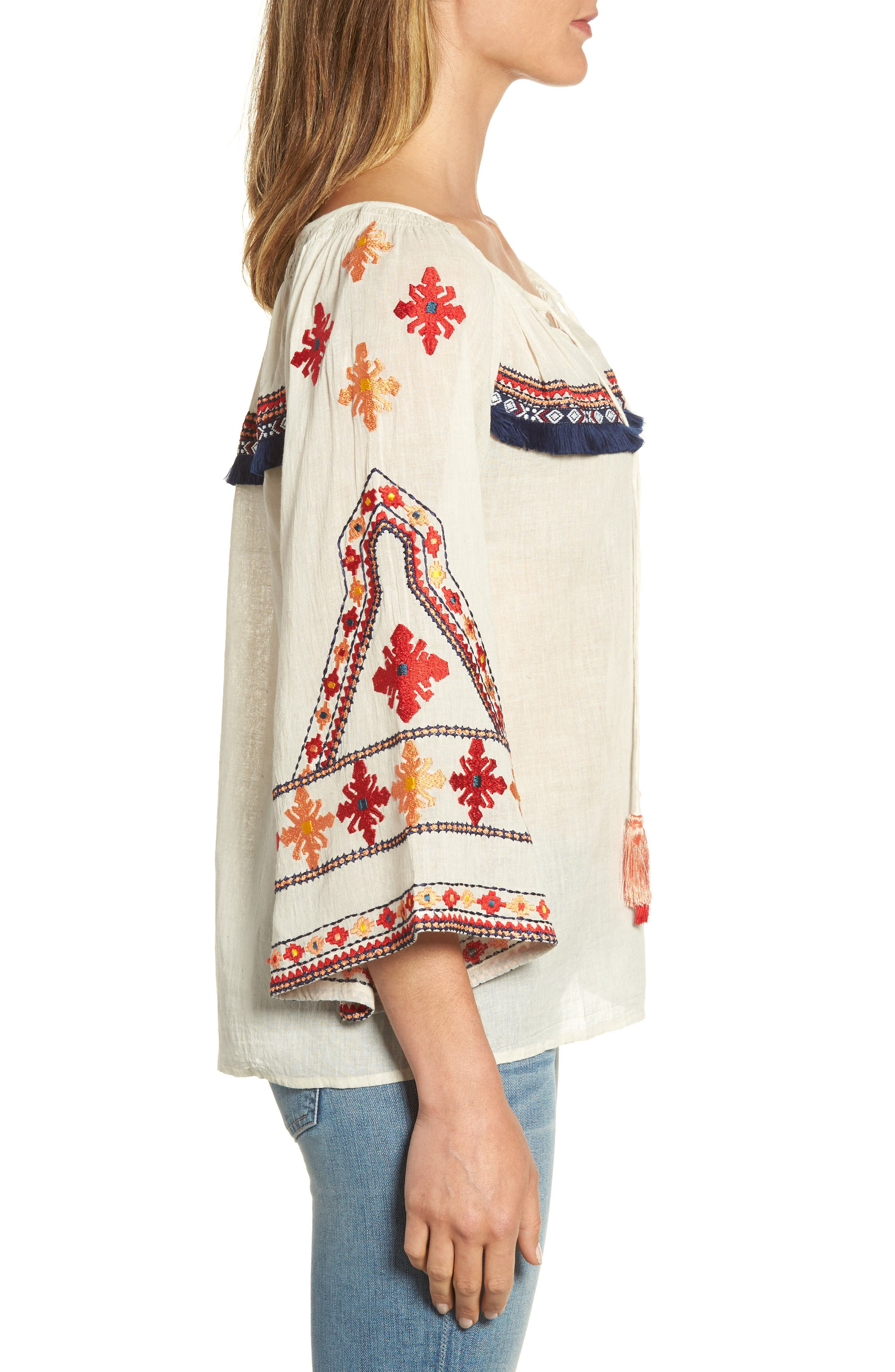 Juana Embroidered Peasant Top,                             Alternate thumbnail 3, color,                             Off White