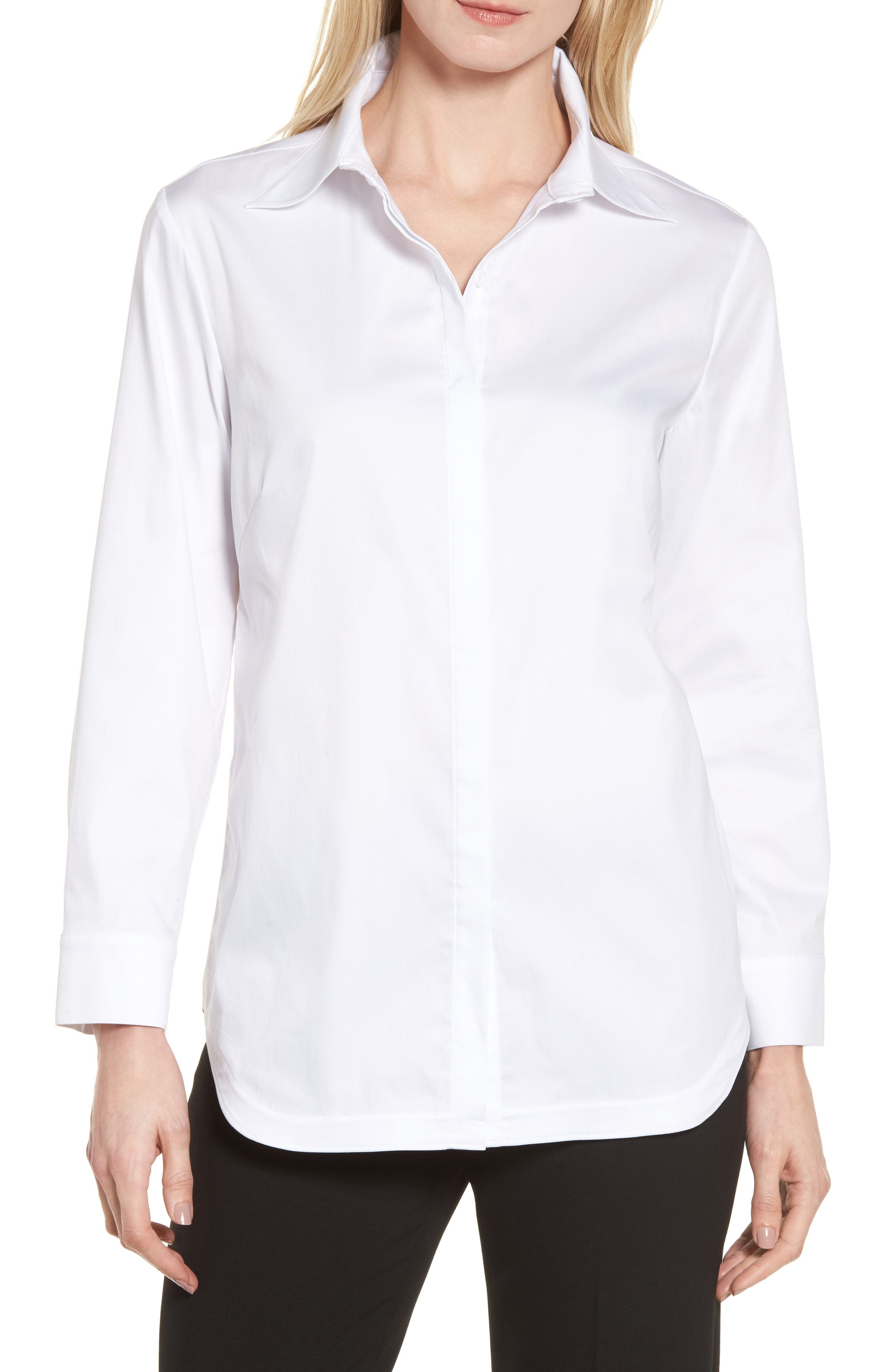 Button Back Shirt,                         Main,                         color, White