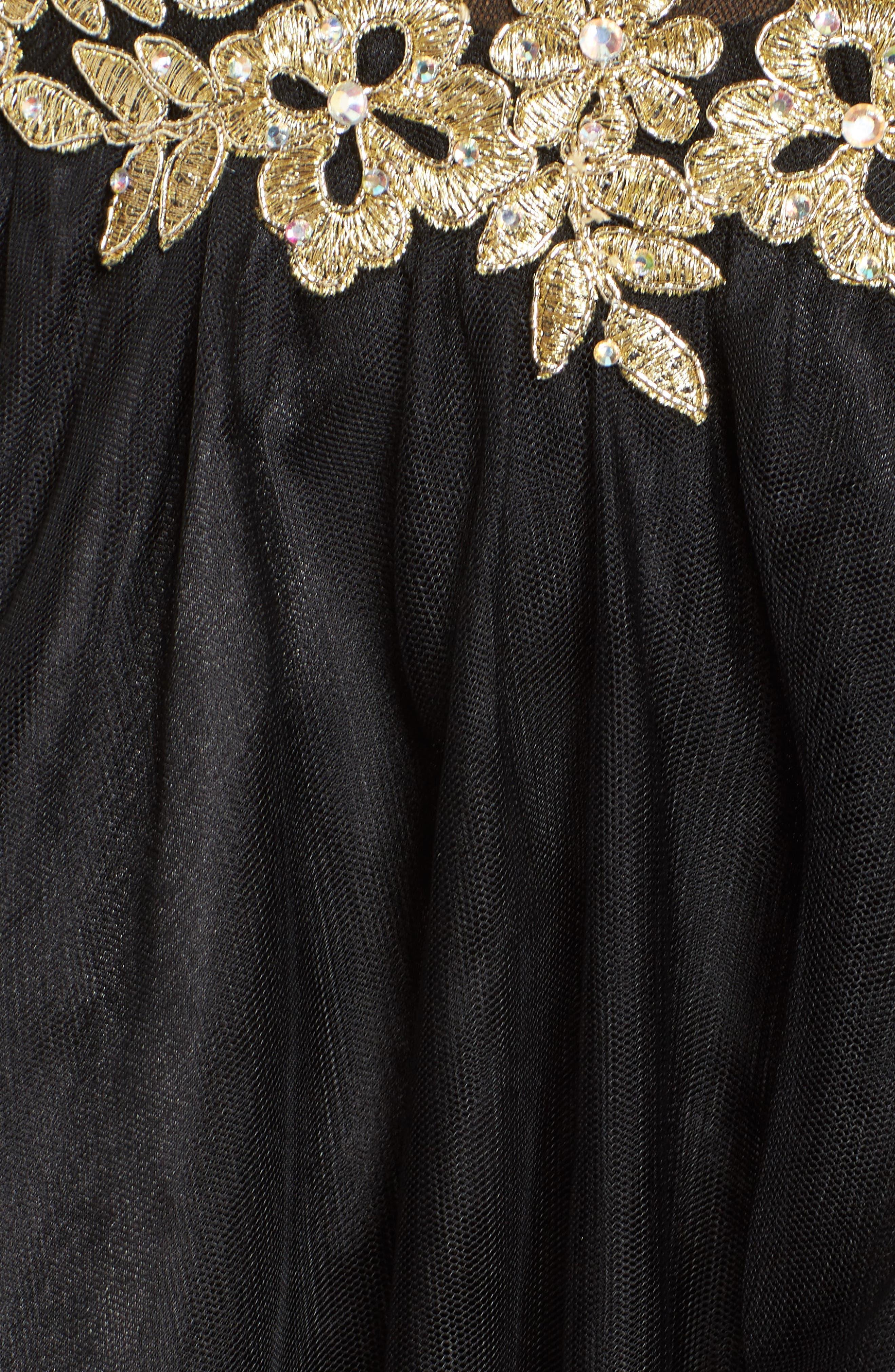 Appliqué Strapless Fit & Flare Dress,                             Alternate thumbnail 5, color,                             Black/ Gold