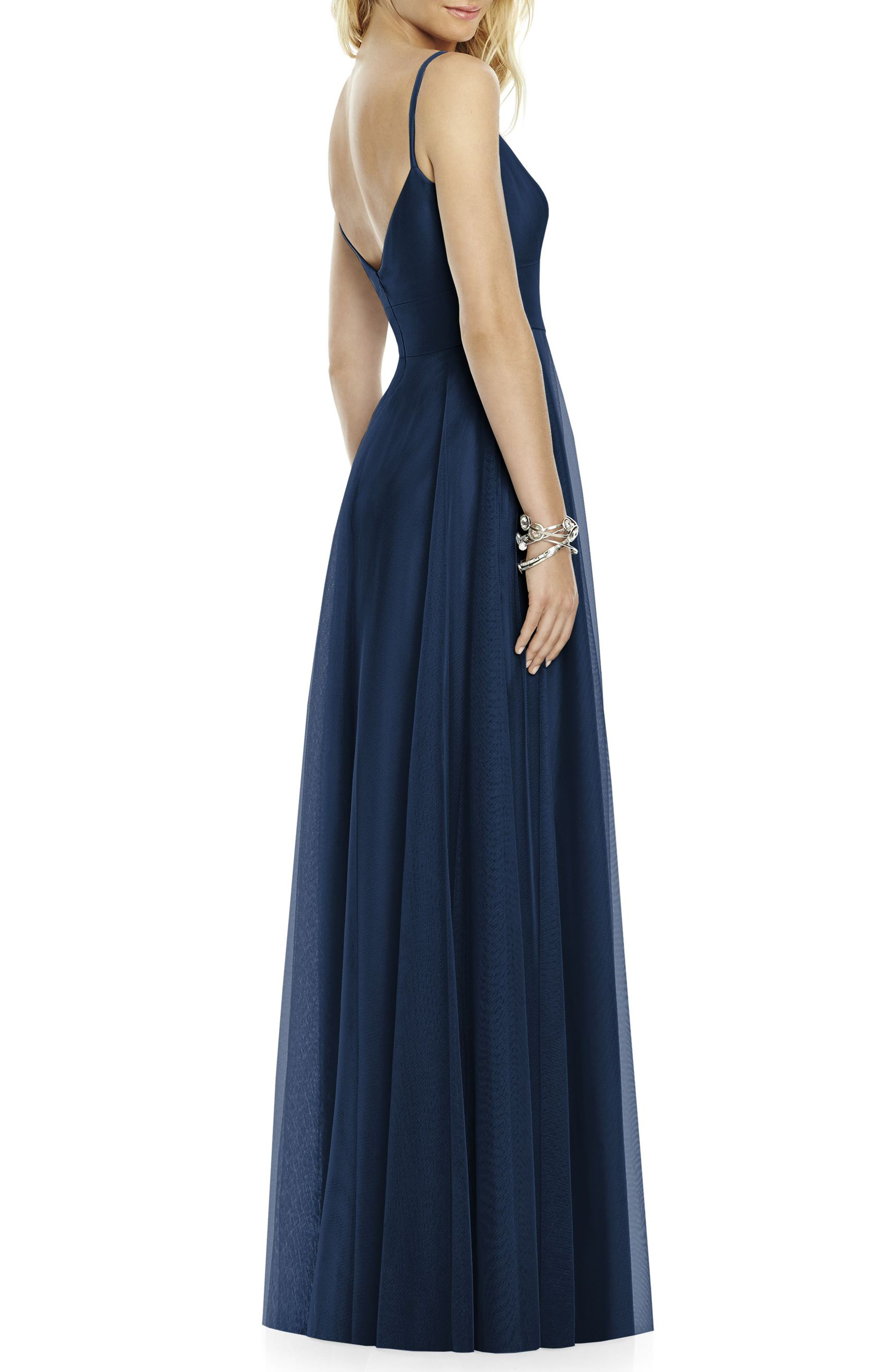 Sleeveless Tulle A-Line Gown,                             Alternate thumbnail 2, color,                             Midnight