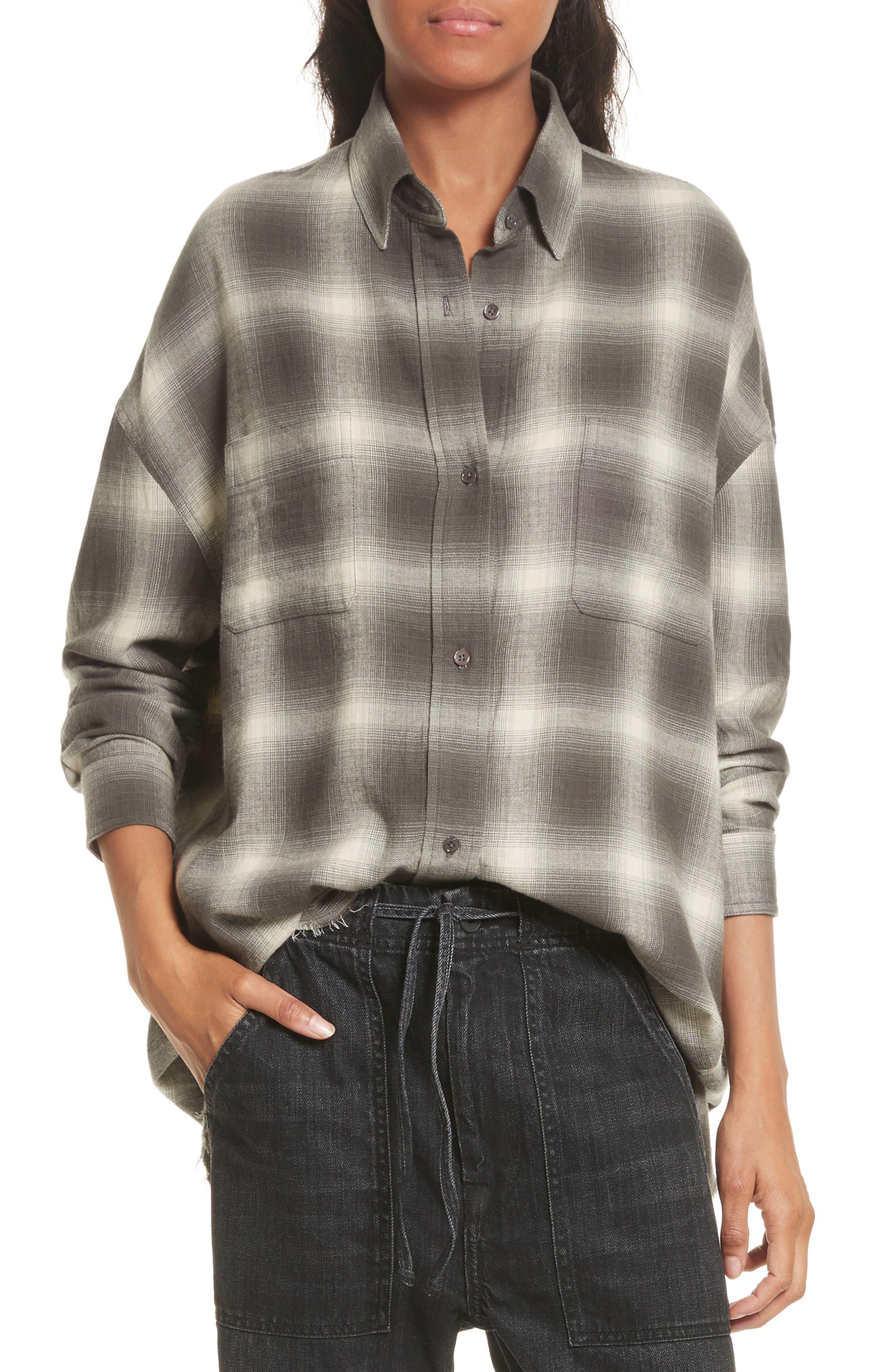 Brushed Window Plaid Oversize Shirt,                         Main,                         color, Grey