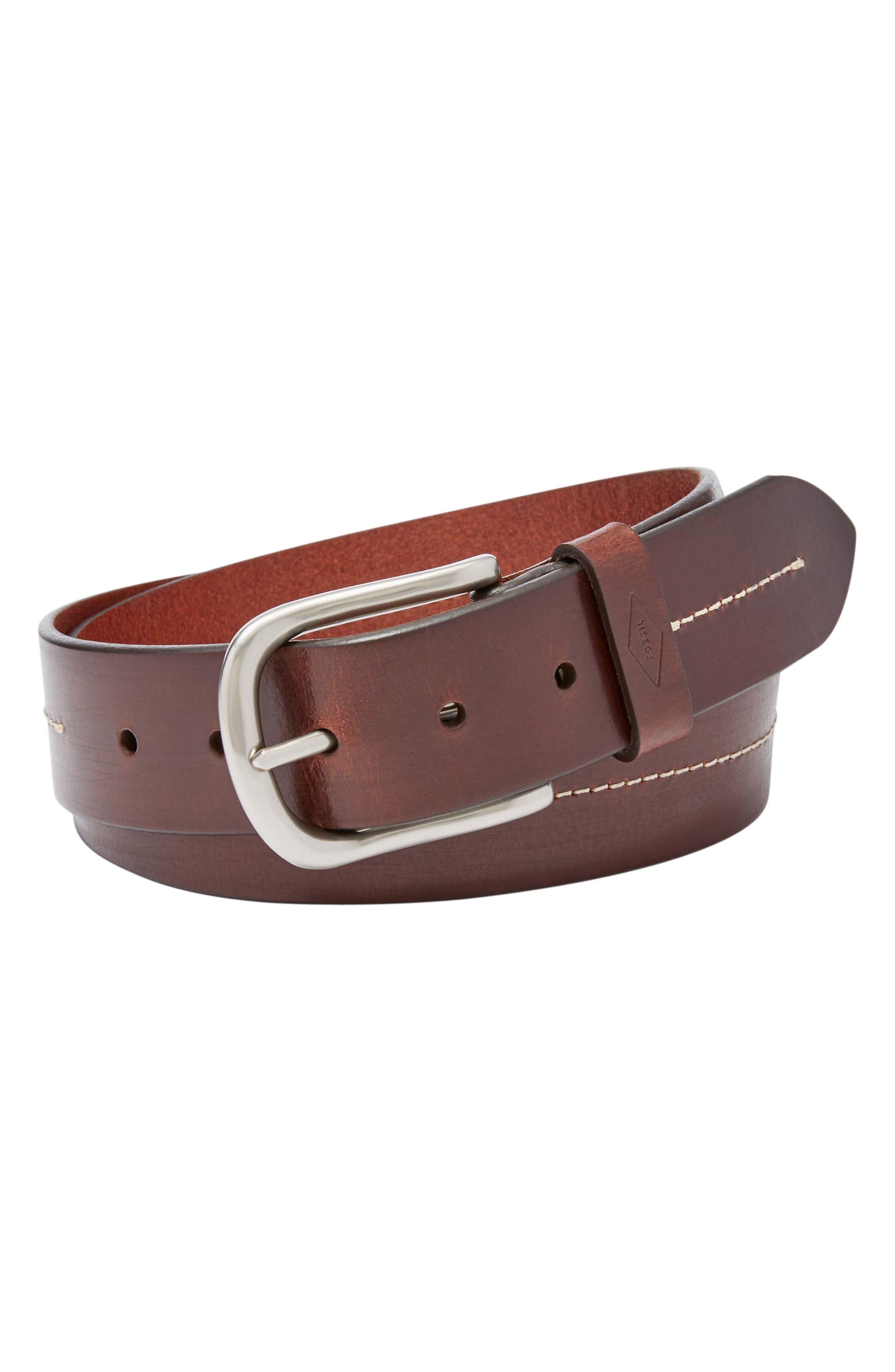 Cullen Leather Belt,                         Main,                         color, Dark Brown