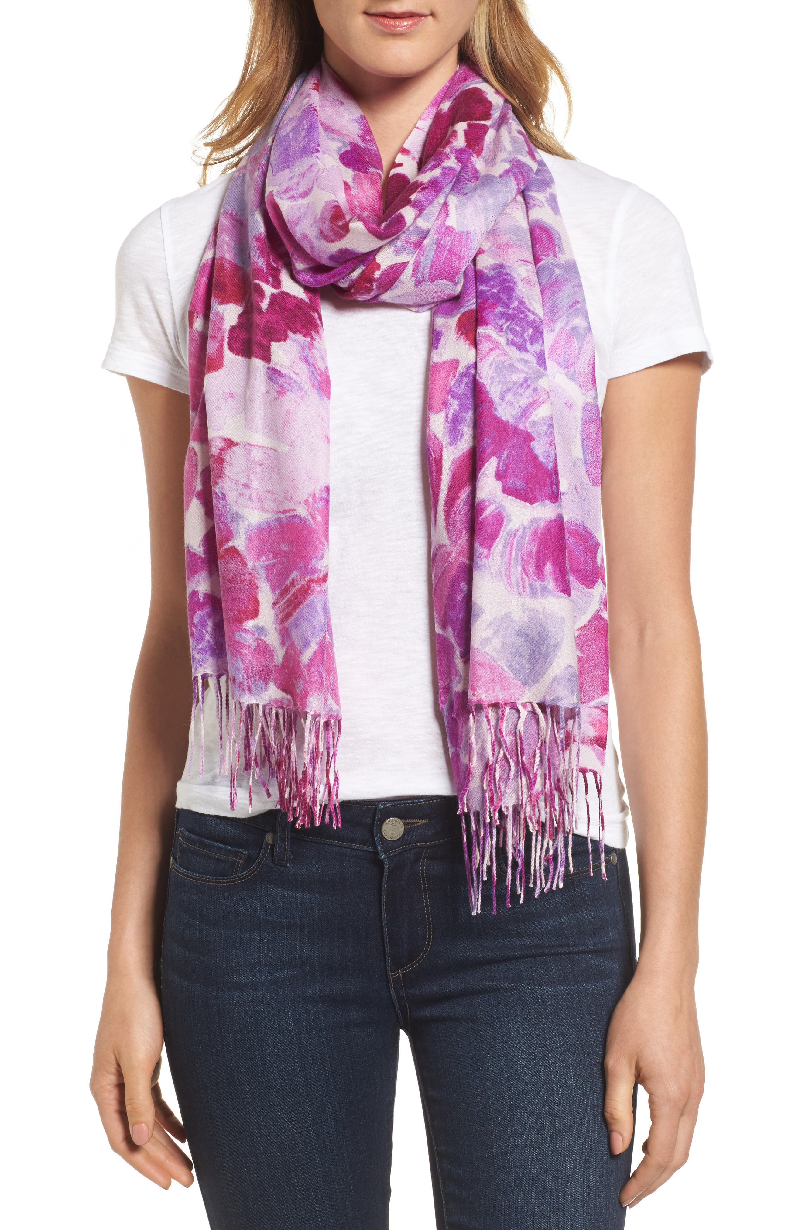 Alternate Image 1 Selected - Nordstrom Marine Mosaic Print Wool & Cashmere Scarf