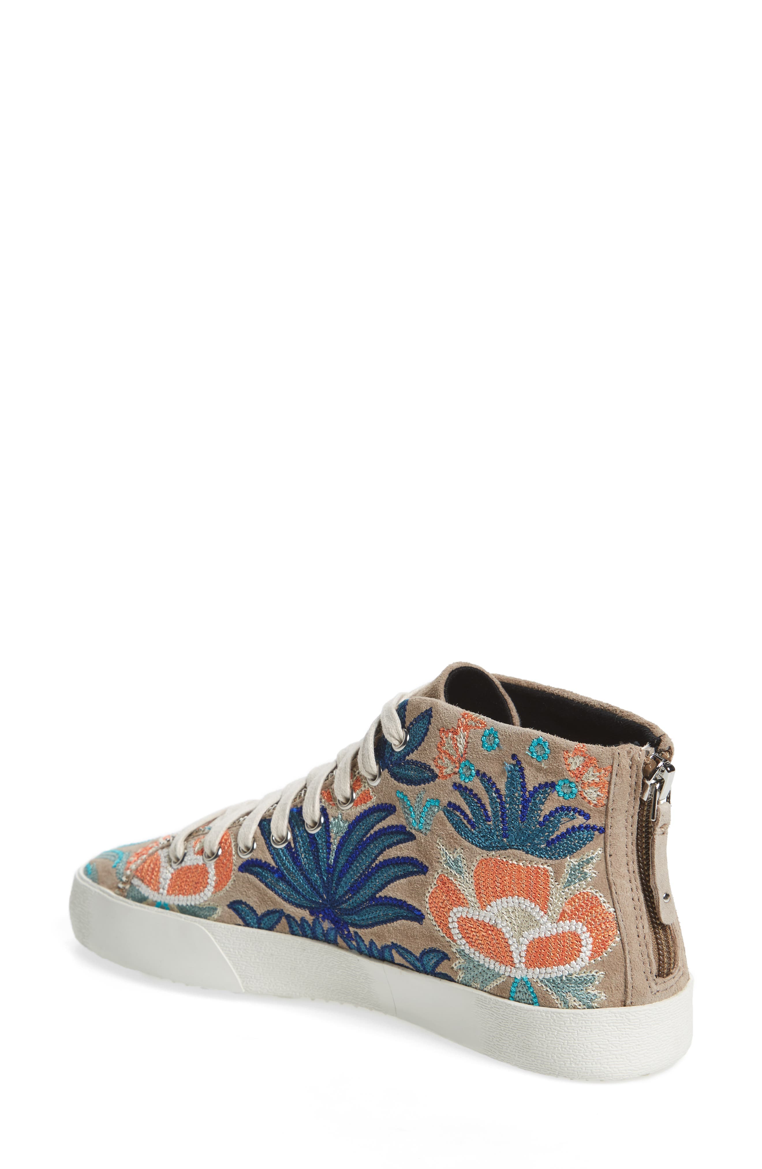 Zaina Embroidered Sneaker,                             Alternate thumbnail 2, color,                             Sand