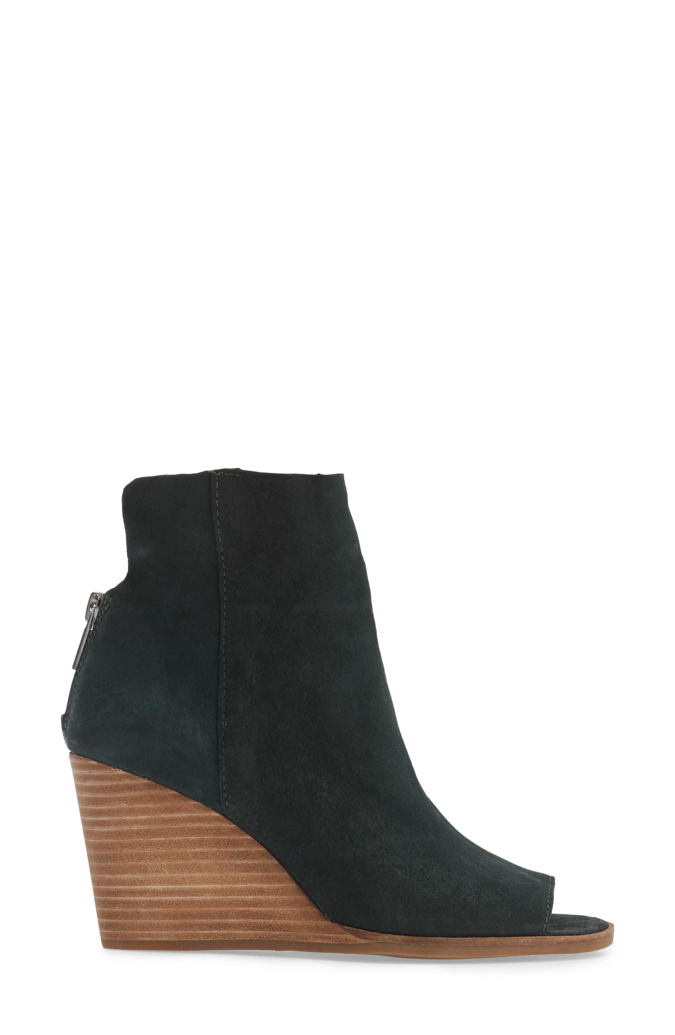 Urbi Peep Toe Bootie,                             Alternate thumbnail 3, color,                             Dark Cyan Leather