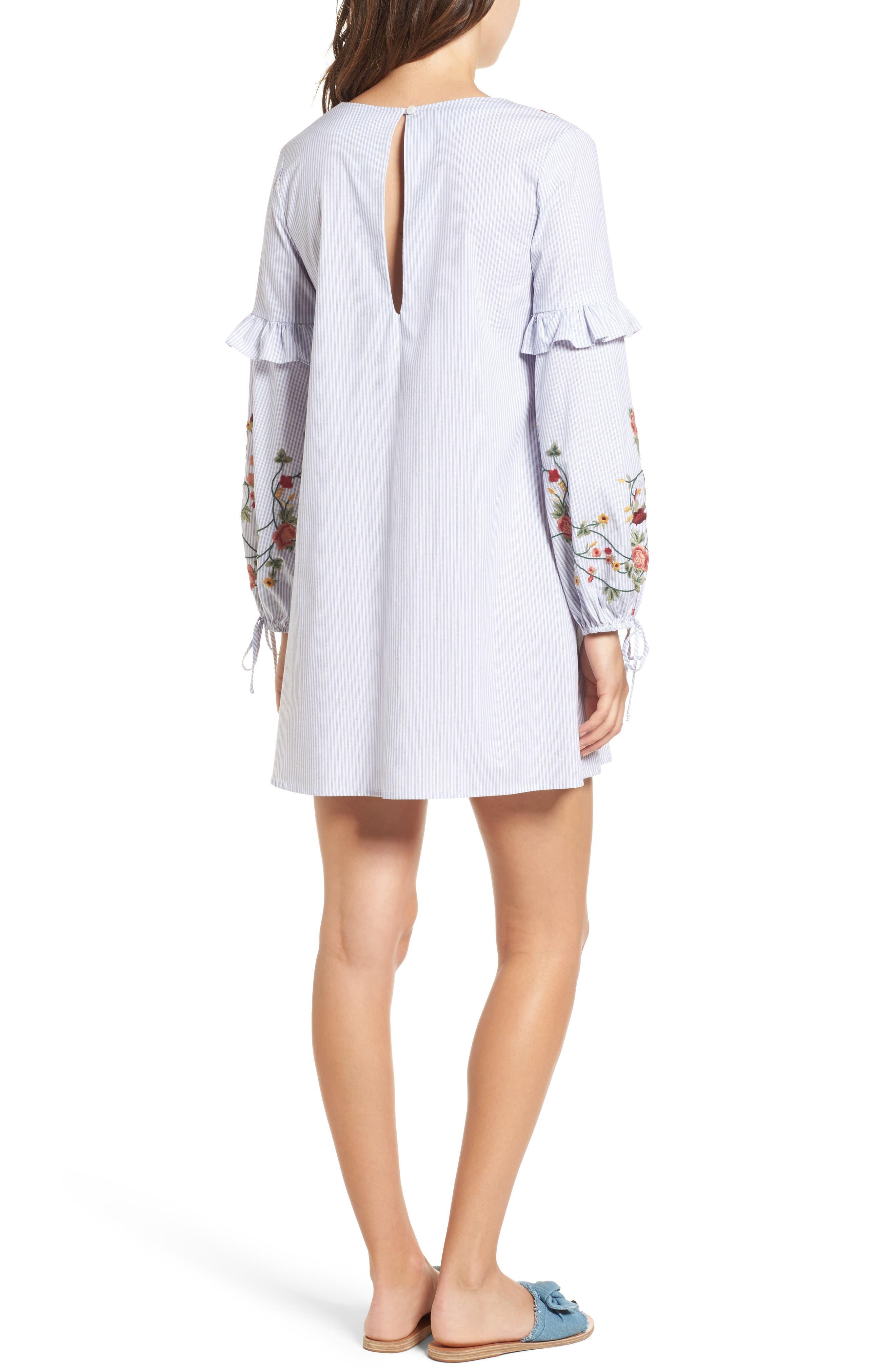 Embroidered Poplin Dress,                             Alternate thumbnail 3, color,                             White/ Blue