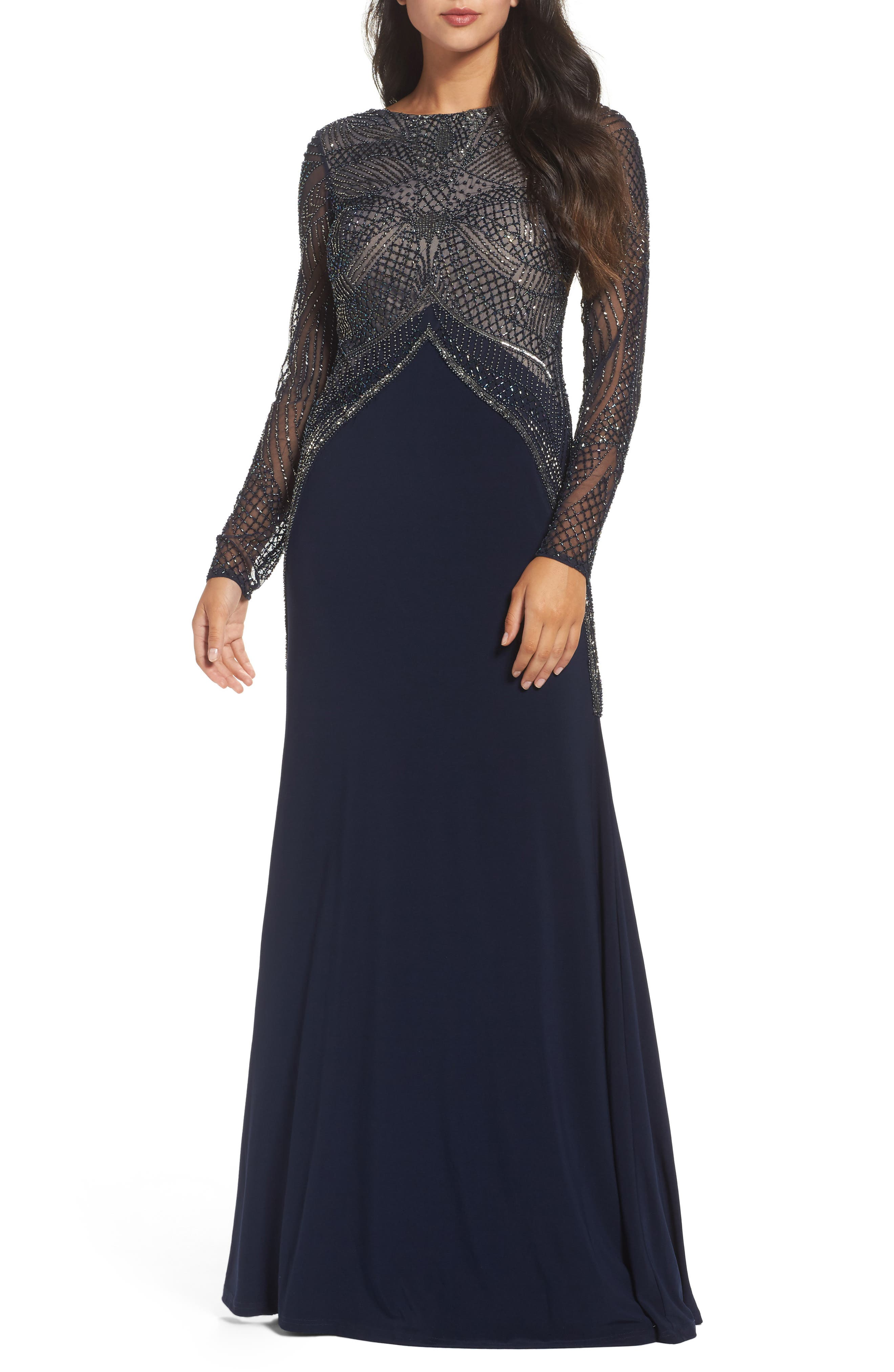Beaded Long Sleeve Gown,                         Main,                         color, Navy/ Nude