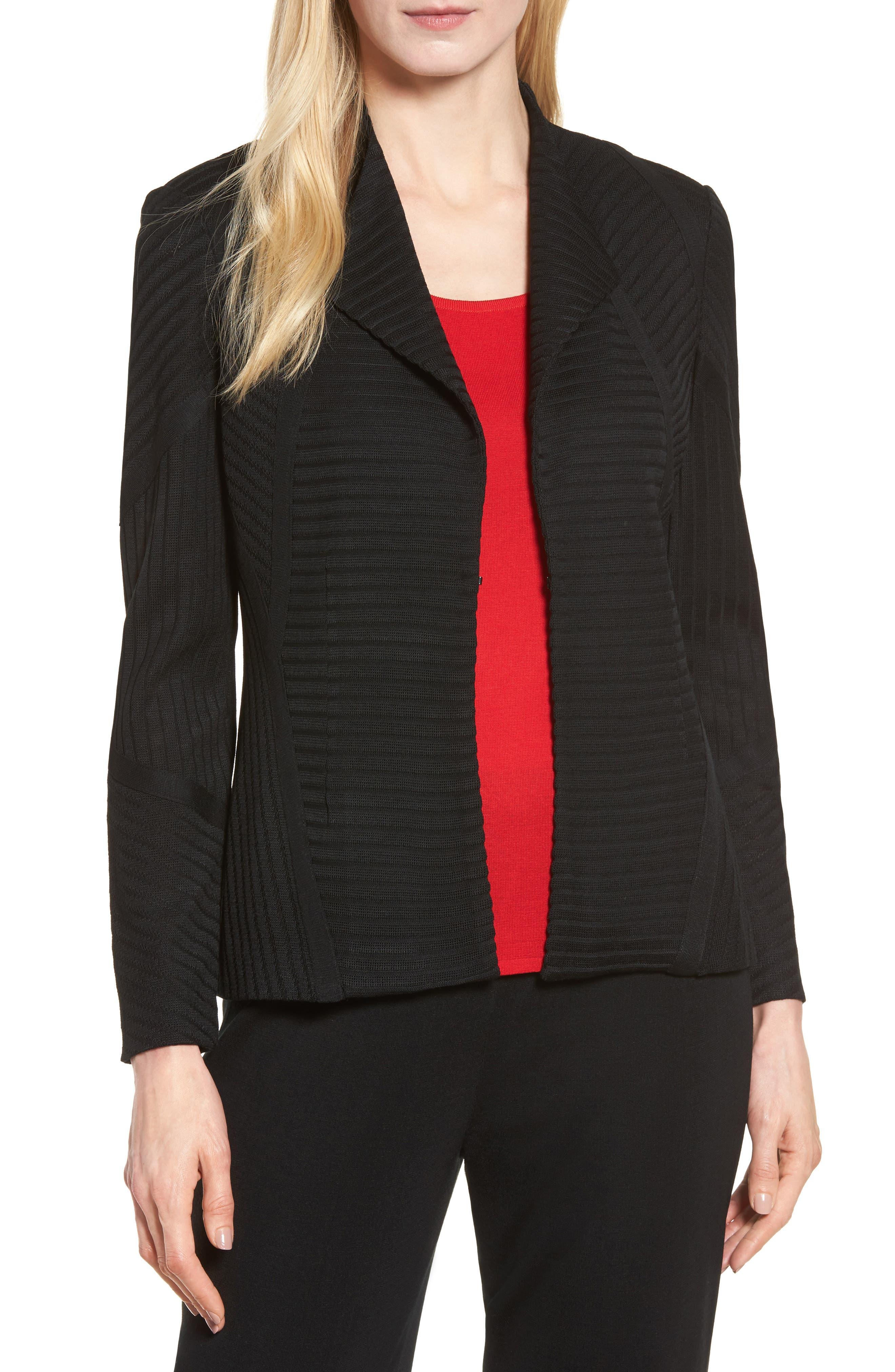 Striped Knit Jacket,                             Main thumbnail 1, color,                             Black